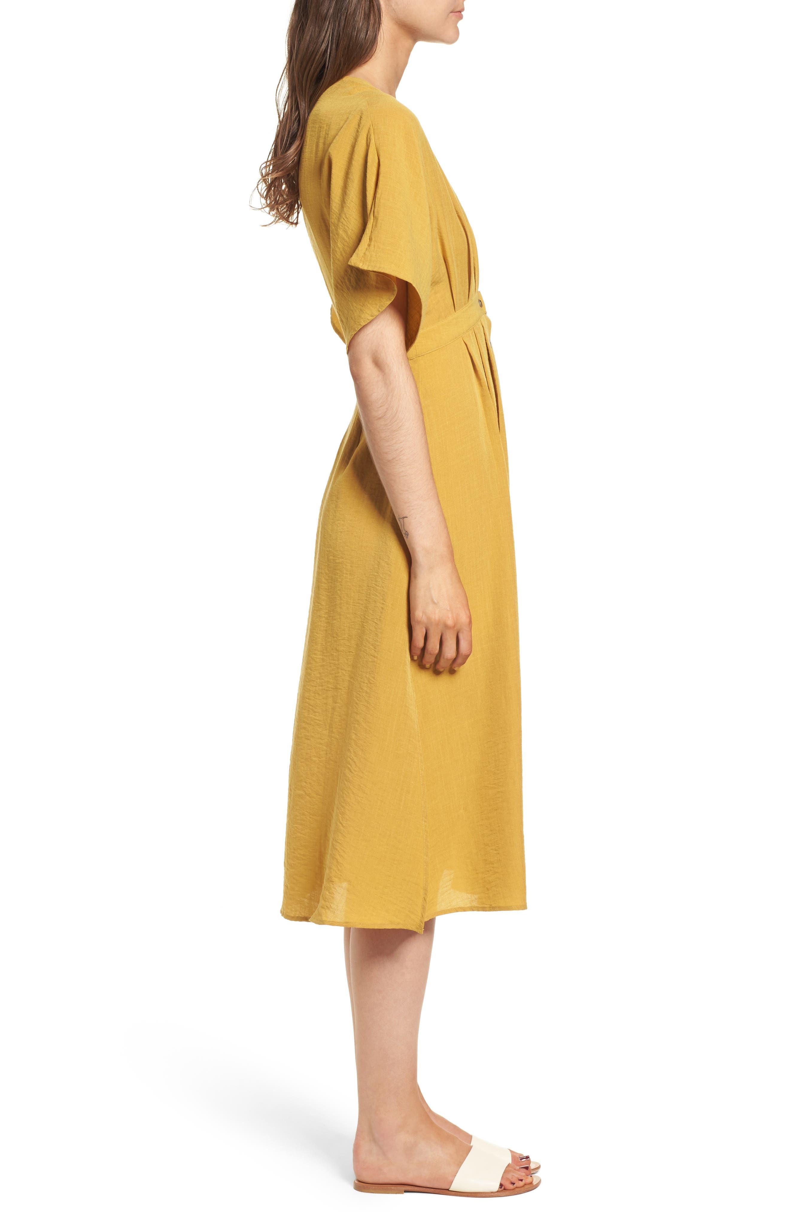 Poppy Button Front Midi Dress,                             Alternate thumbnail 4, color,                             Mustard