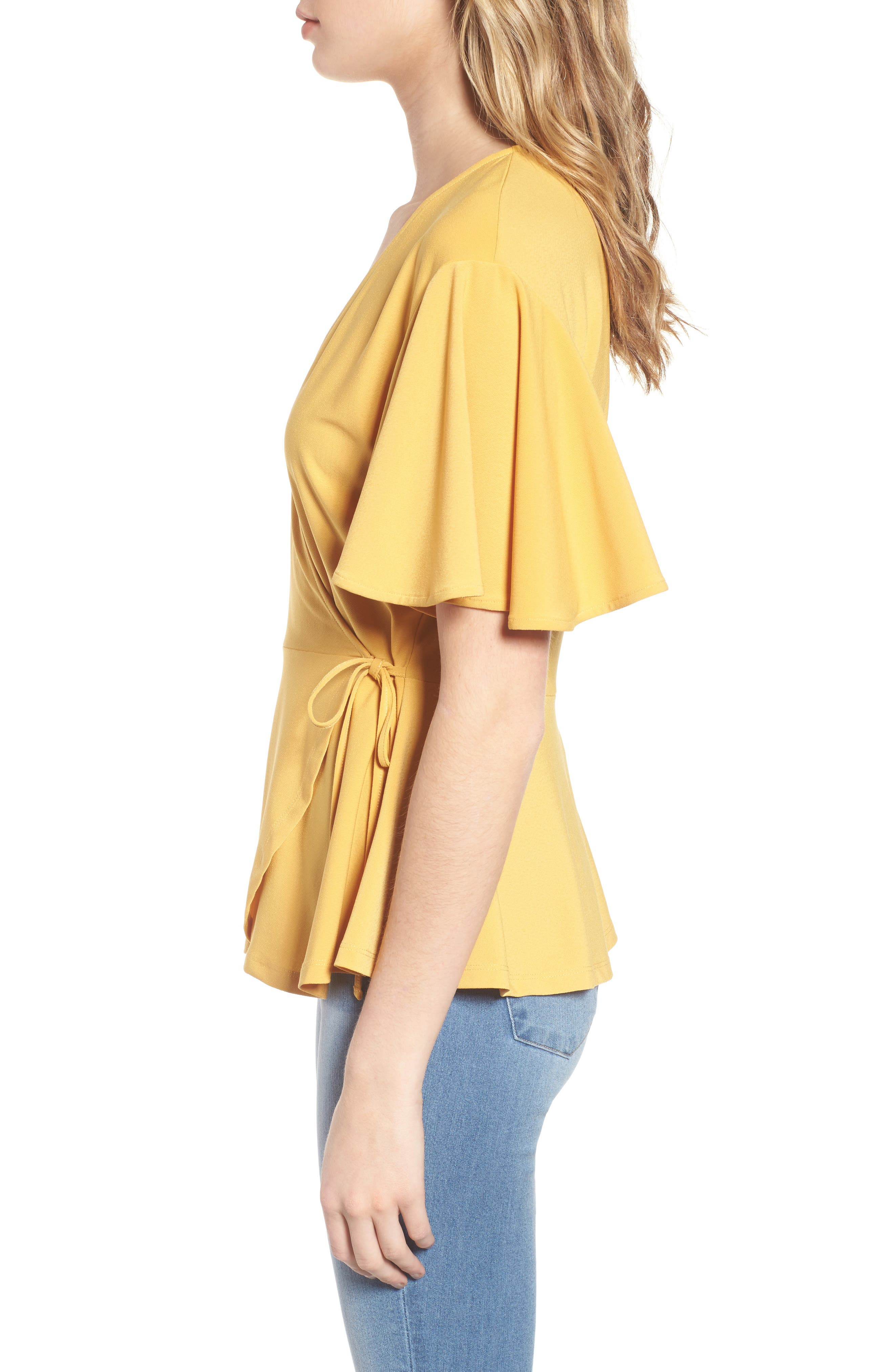 Flounce Sleeve Faux Wrap Top,                             Alternate thumbnail 3, color,                             Yellow Mineral