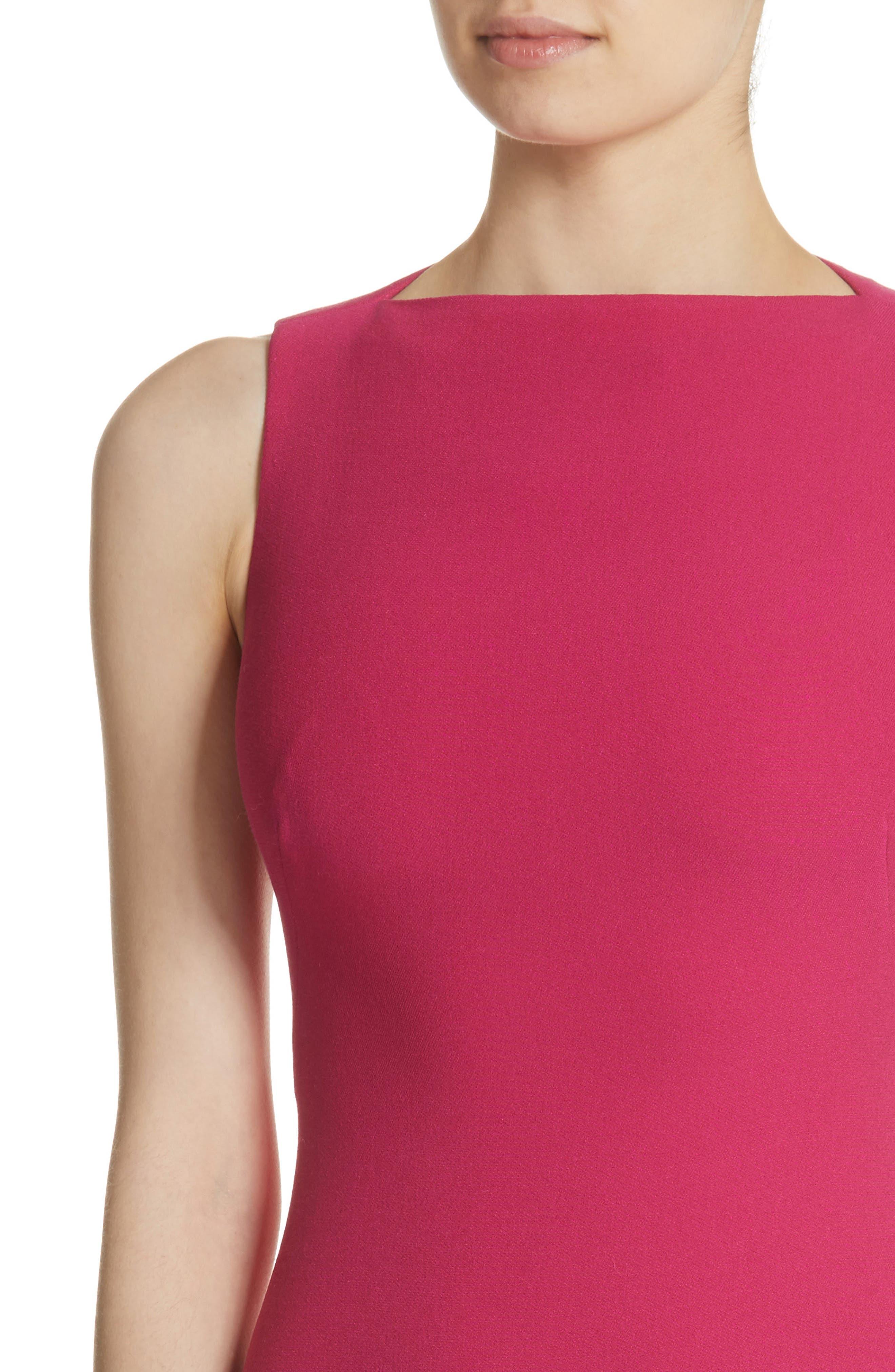 Sheath Midi Dress,                             Alternate thumbnail 4, color,                             Fuchsia