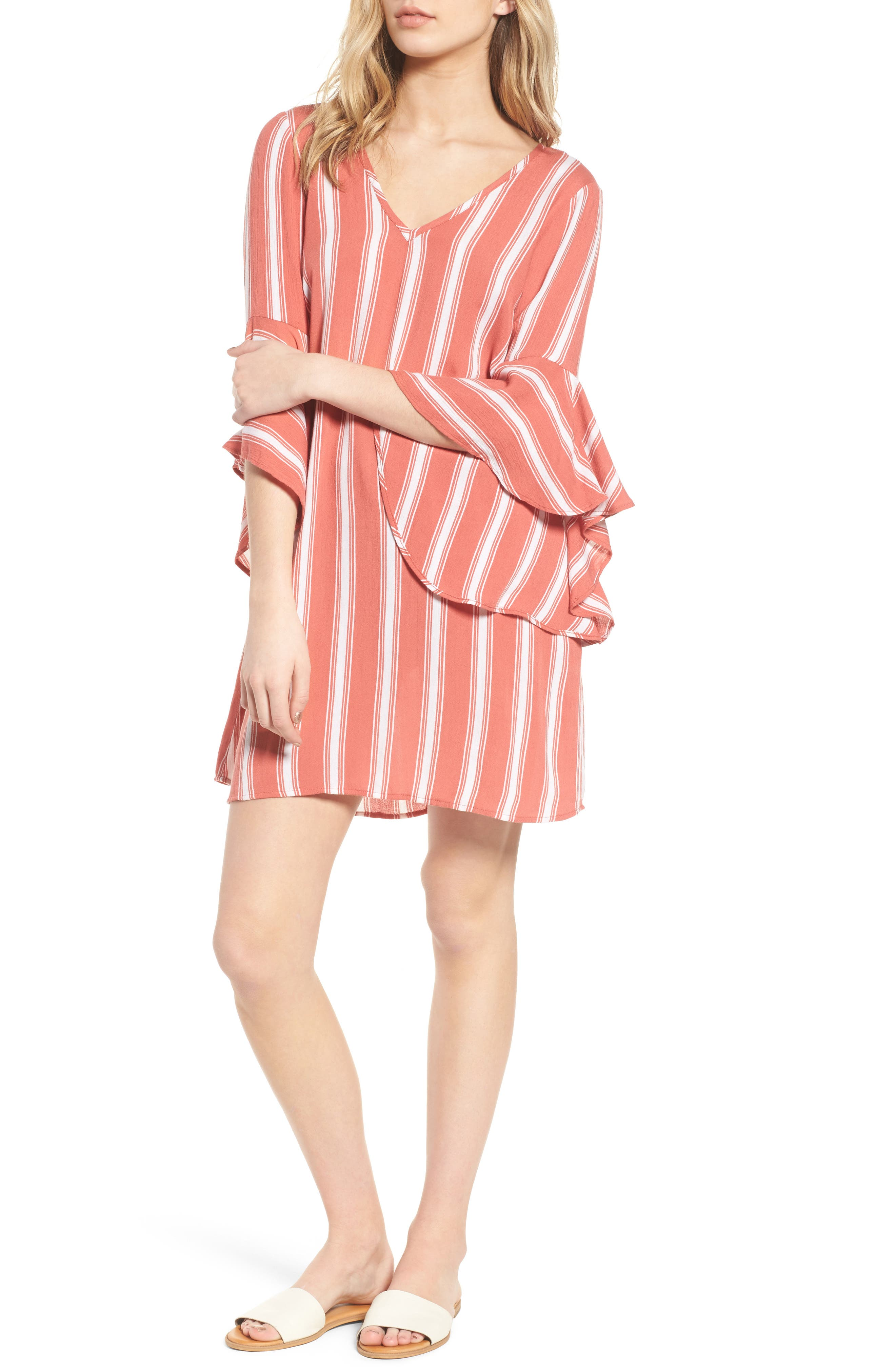 Ruffle Bell Sleeve Dress,                             Main thumbnail 1, color,                             Dusty Coral/ Ivory
