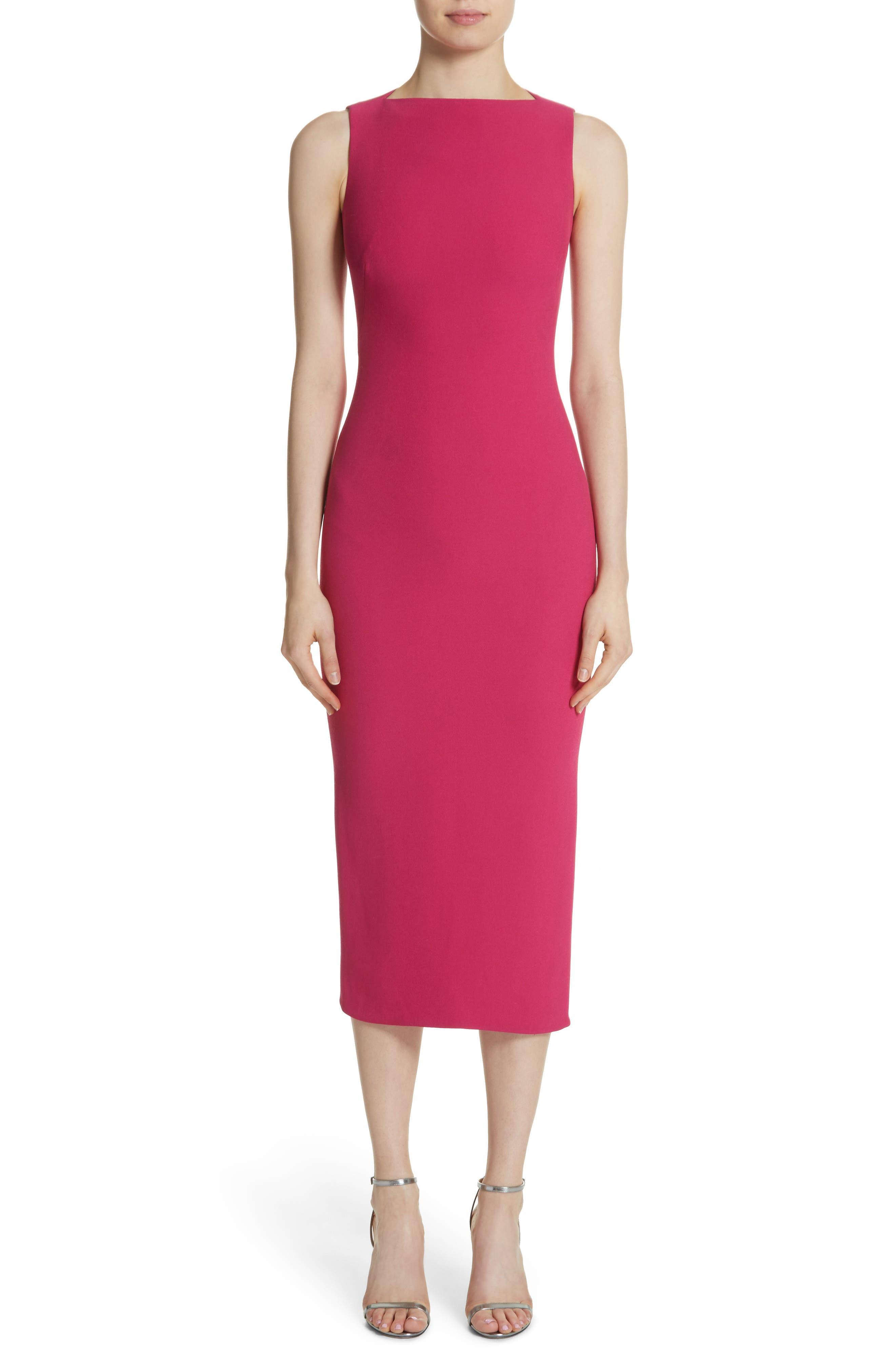 Sheath Midi Dress,                         Main,                         color, Fuchsia