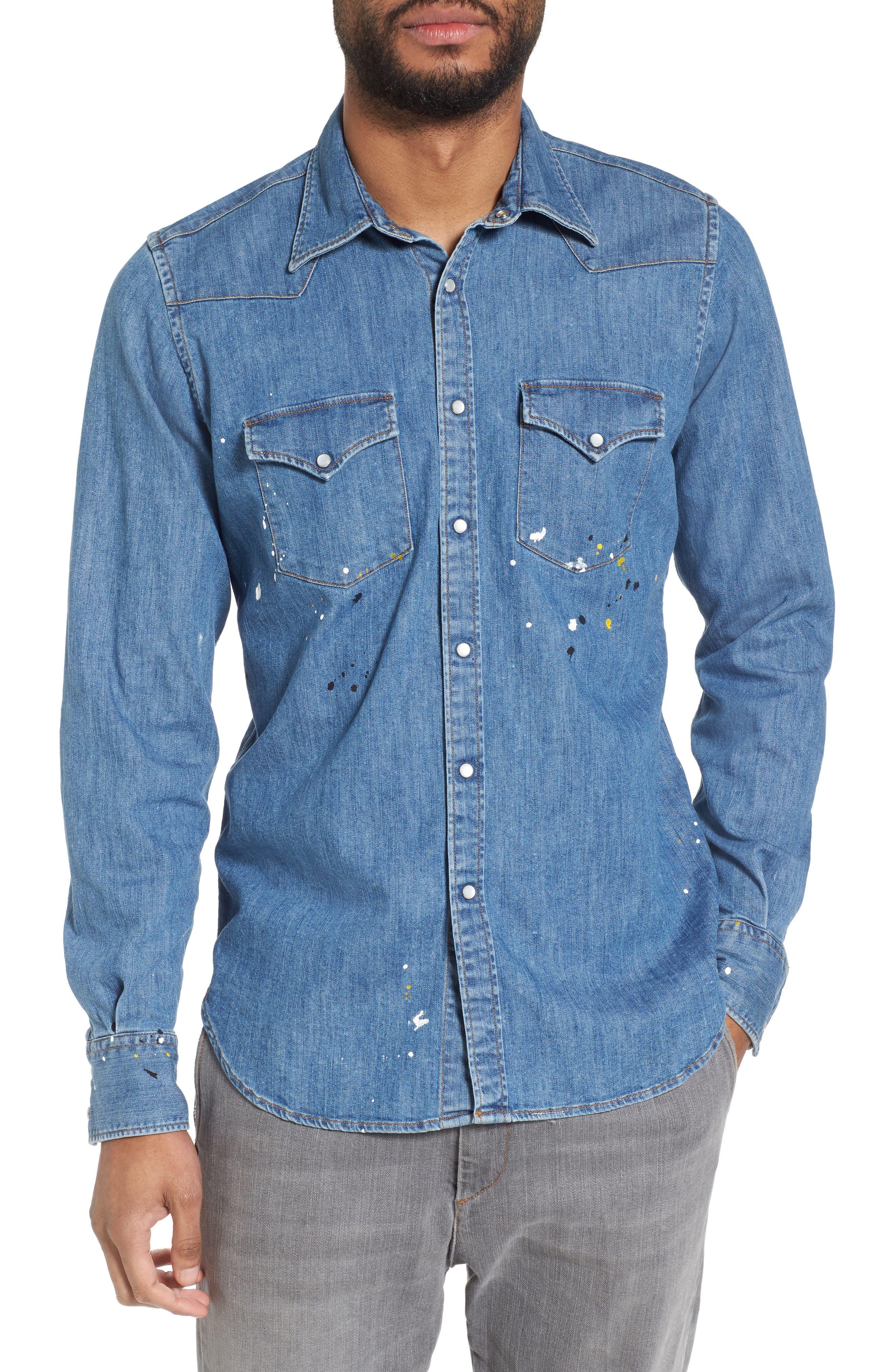 Slim Fit Paint Splatter Denim Sport Shirt,                             Main thumbnail 1, color,                             Denim