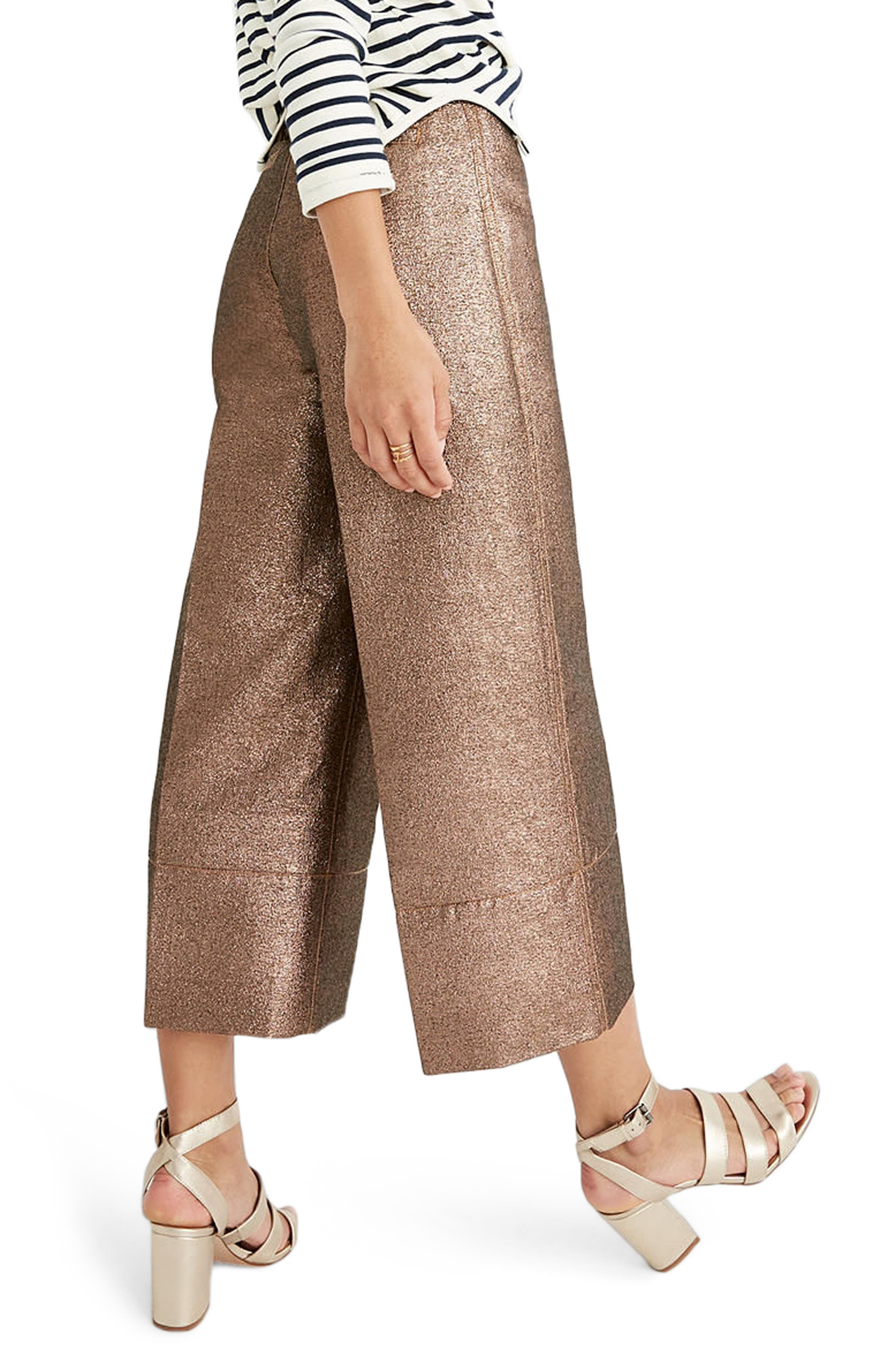 Alternate Image 2  - Madewell Langford Metallic Crop Wide Leg Pants