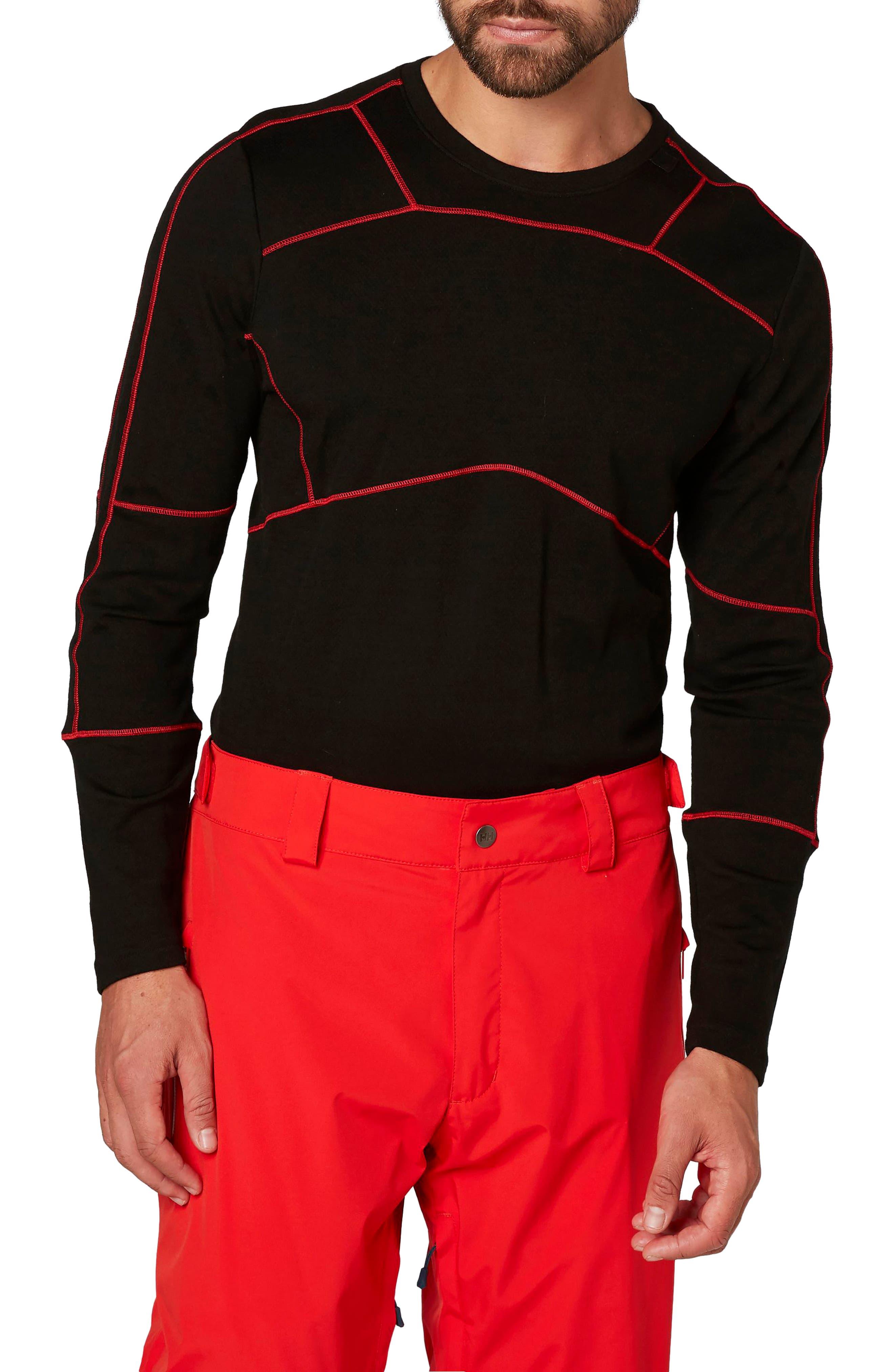 HH<sup>®</sup> Lifa Merino Max Crewneck Pullover,                             Main thumbnail 1, color,                             Black / Flag Red