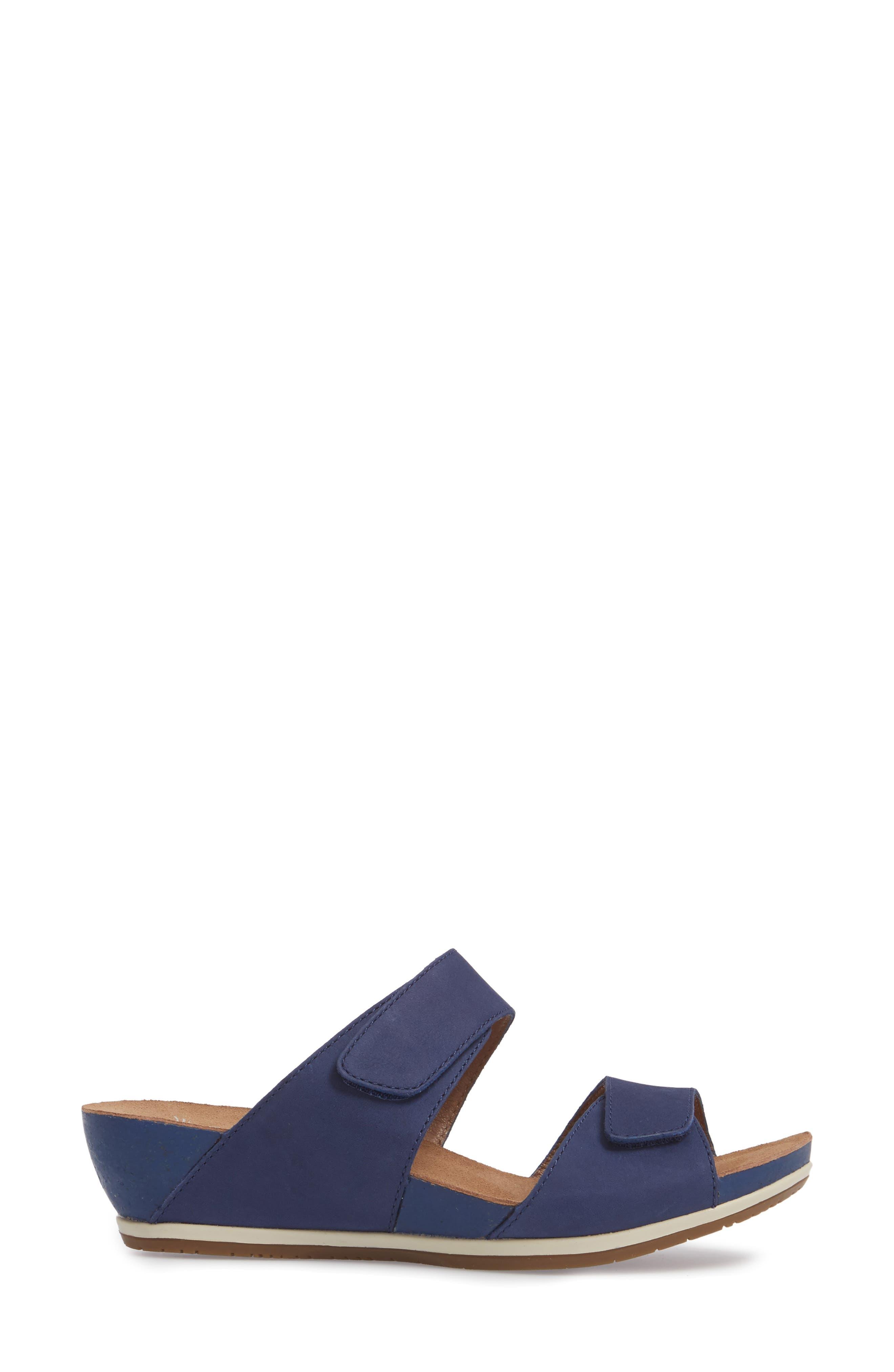 Vienna Slide Sandal,                             Alternate thumbnail 3, color,                             Blue Milled Nubuck Leather