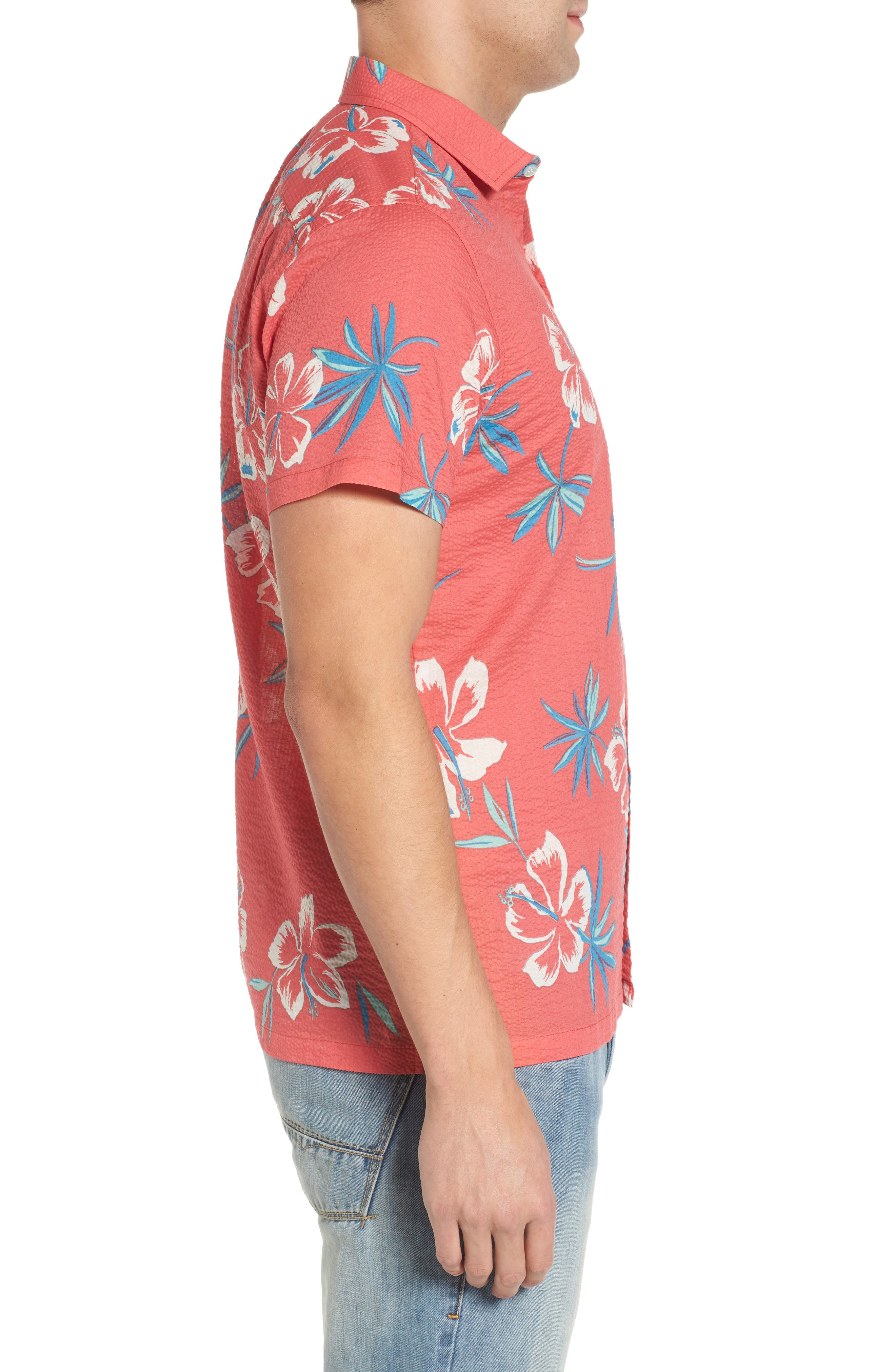 So Fresh Trim Fit Cotton Lawn Sport Shirt,                             Alternate thumbnail 3, color,                             Guava