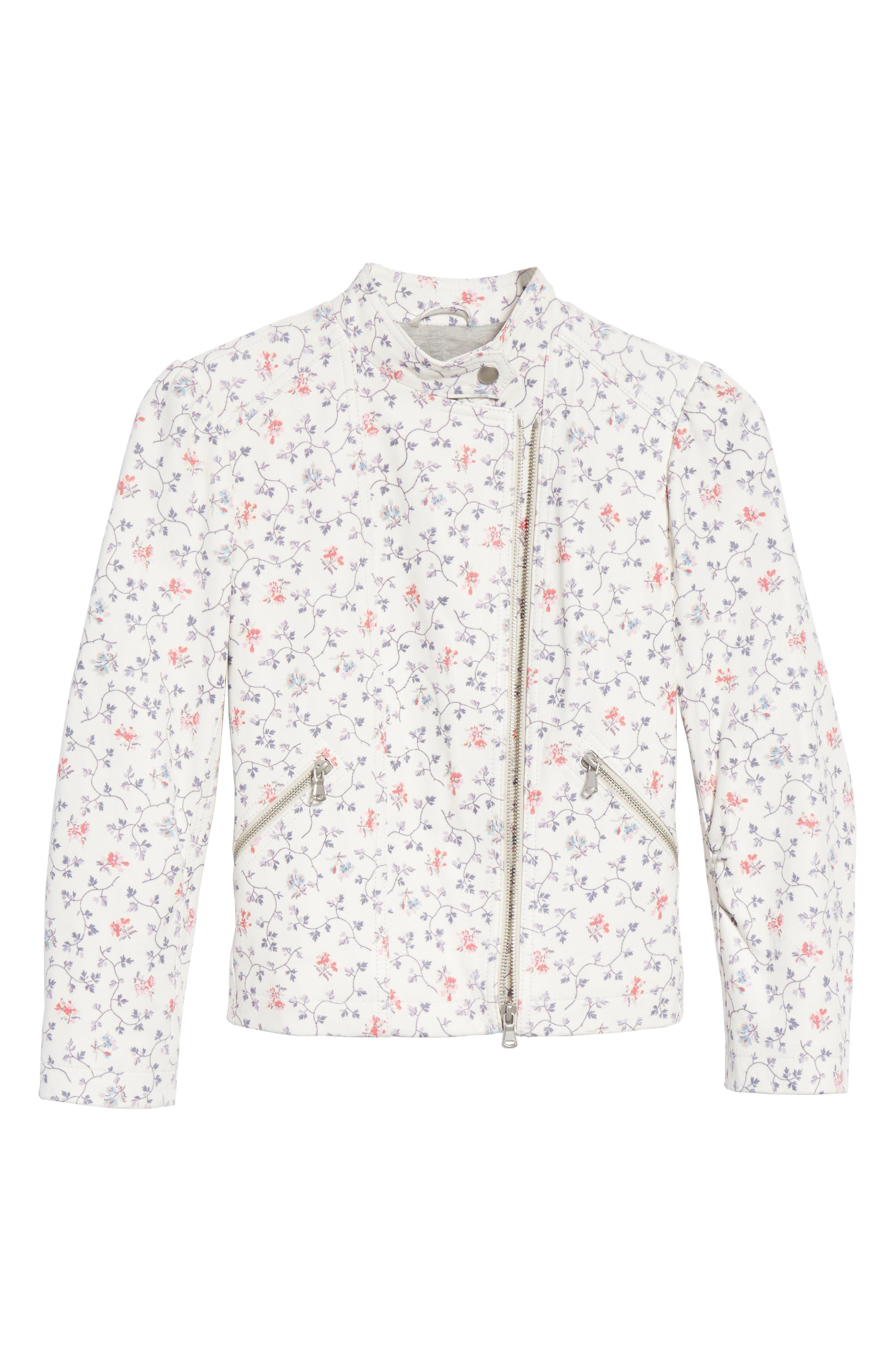 Floral Vine Leather Jacket,                             Alternate thumbnail 6, color,                             Vanilla