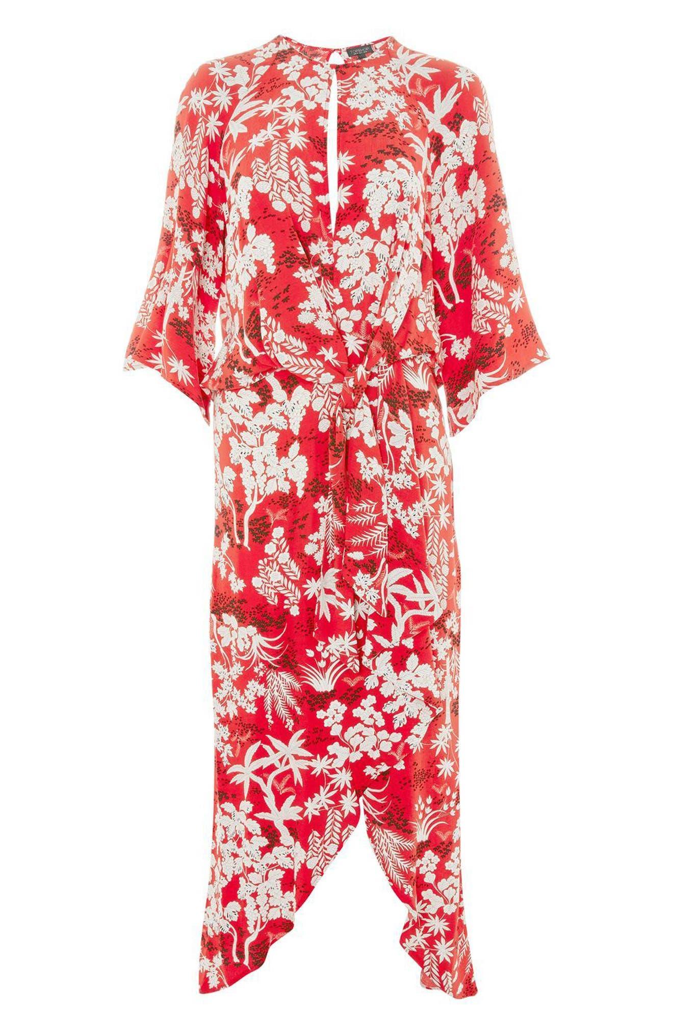 Knotted Midi Dress,                             Alternate thumbnail 4, color,                             Red Multi