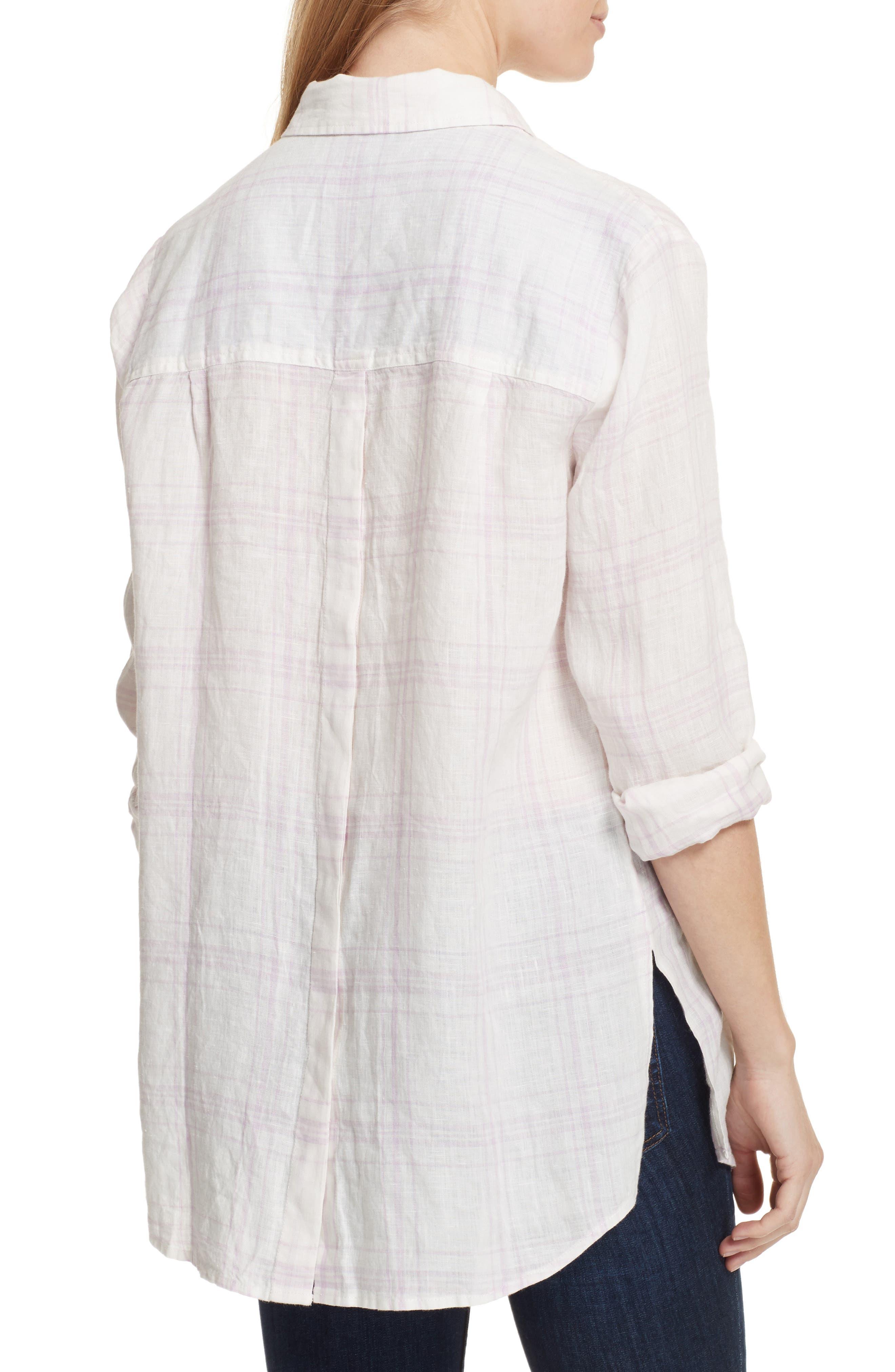 No Limits Plaid Linen Shirt,                             Alternate thumbnail 2, color,                             Lilac