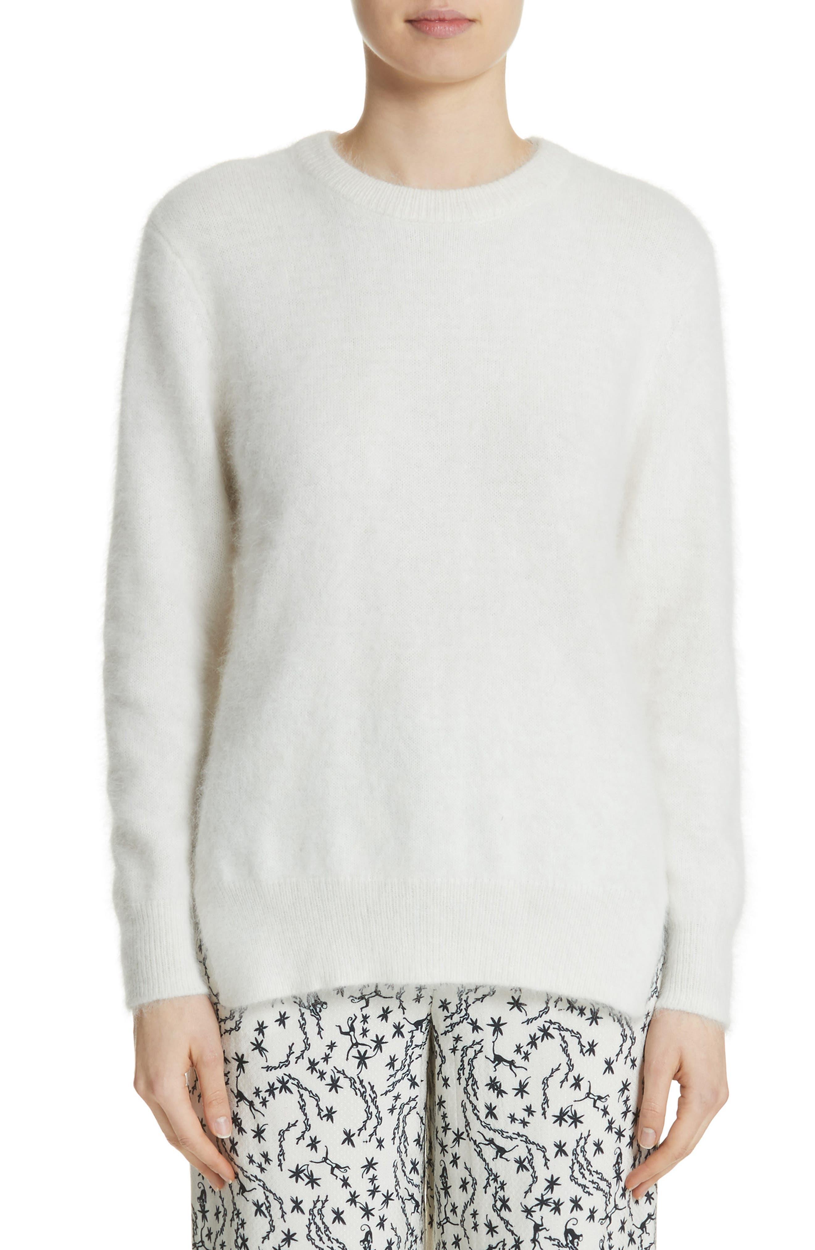 Step Hem Angora Sweater,                             Main thumbnail 1, color,                             Off White