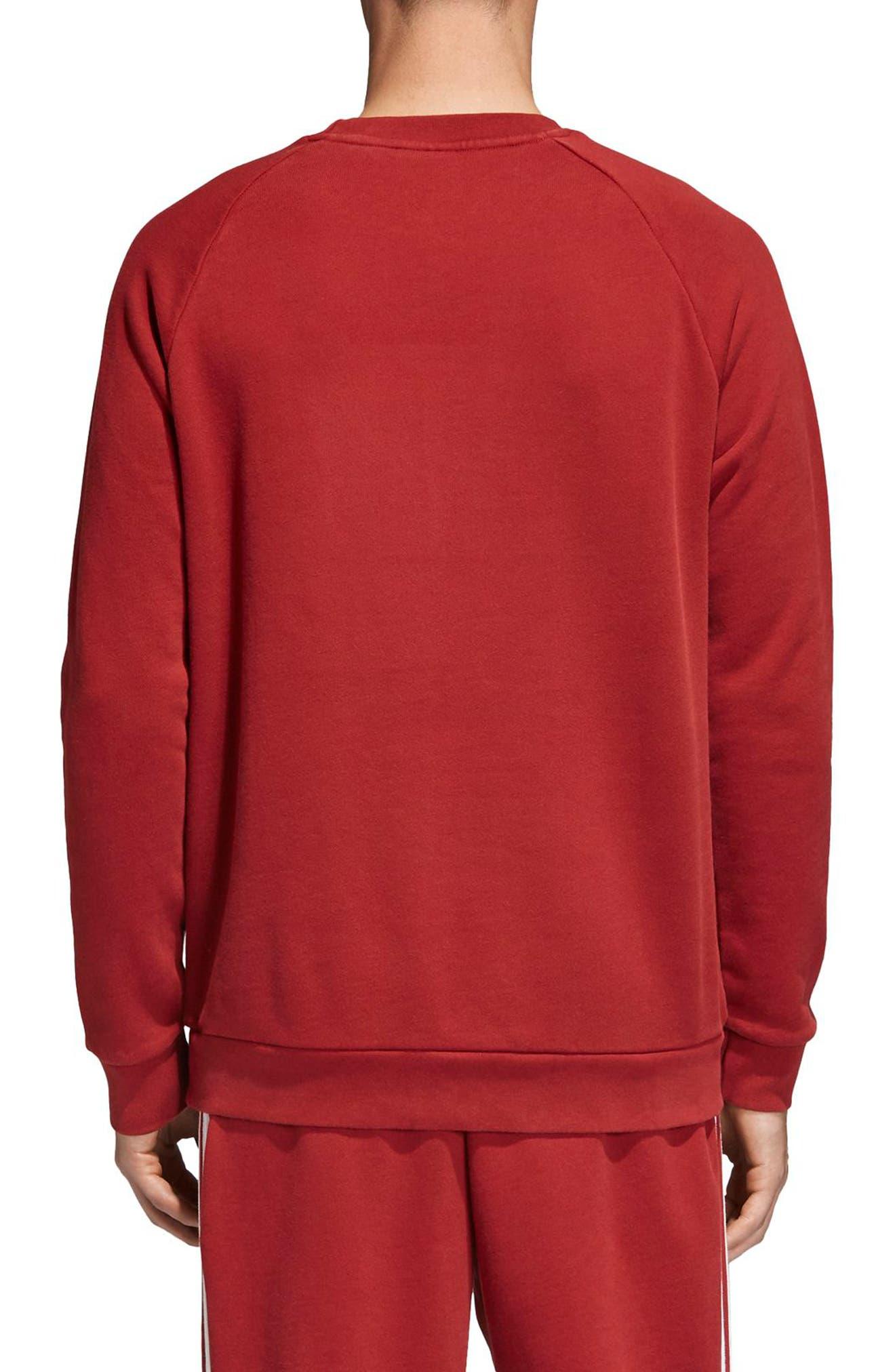 adidas Trefoil Crewneck Sweatshirt,                             Alternate thumbnail 2, color,                             Rusred