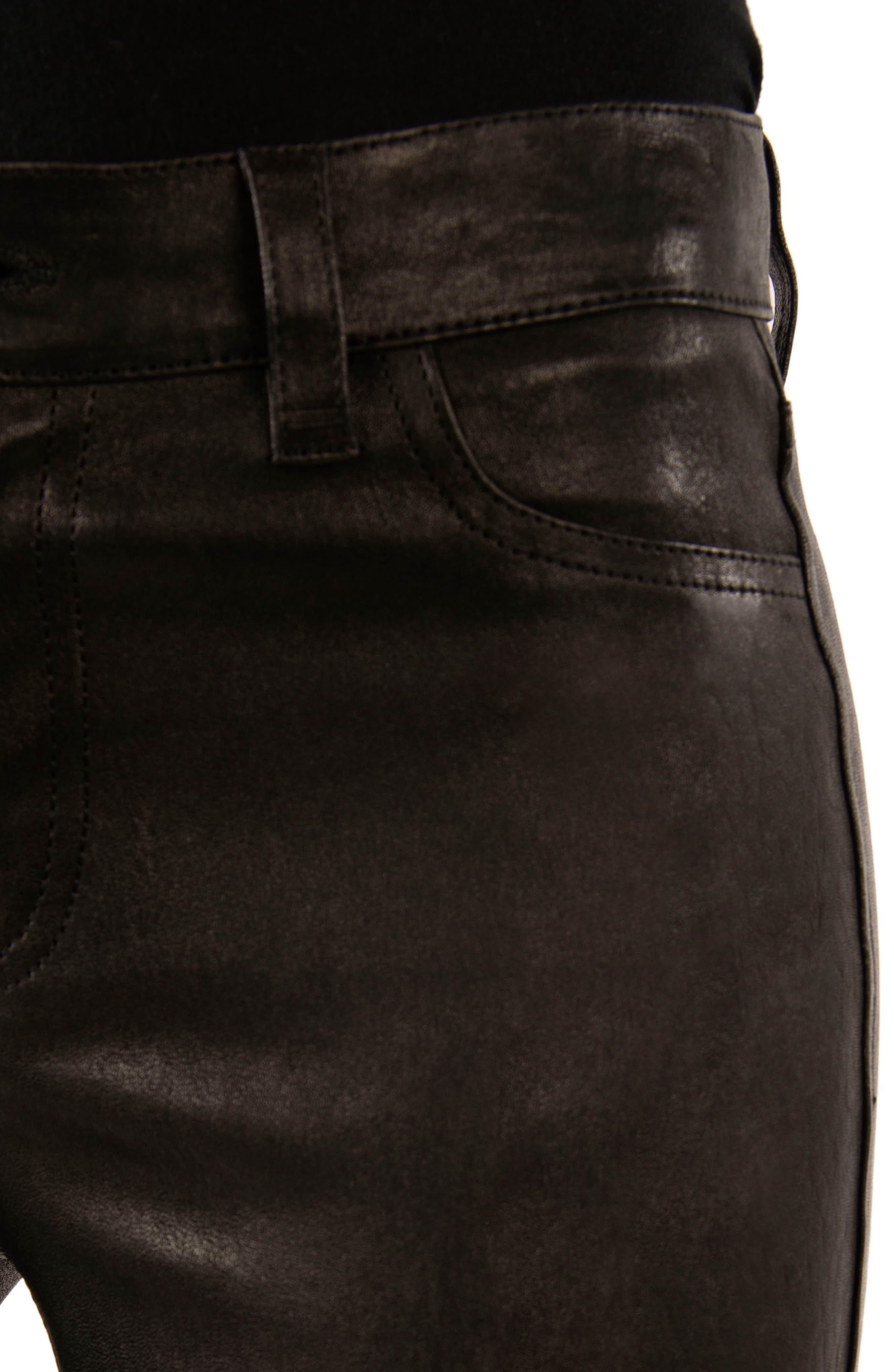 '8001' Lambskin Leather Pants,                             Alternate thumbnail 4, color,                             Noir