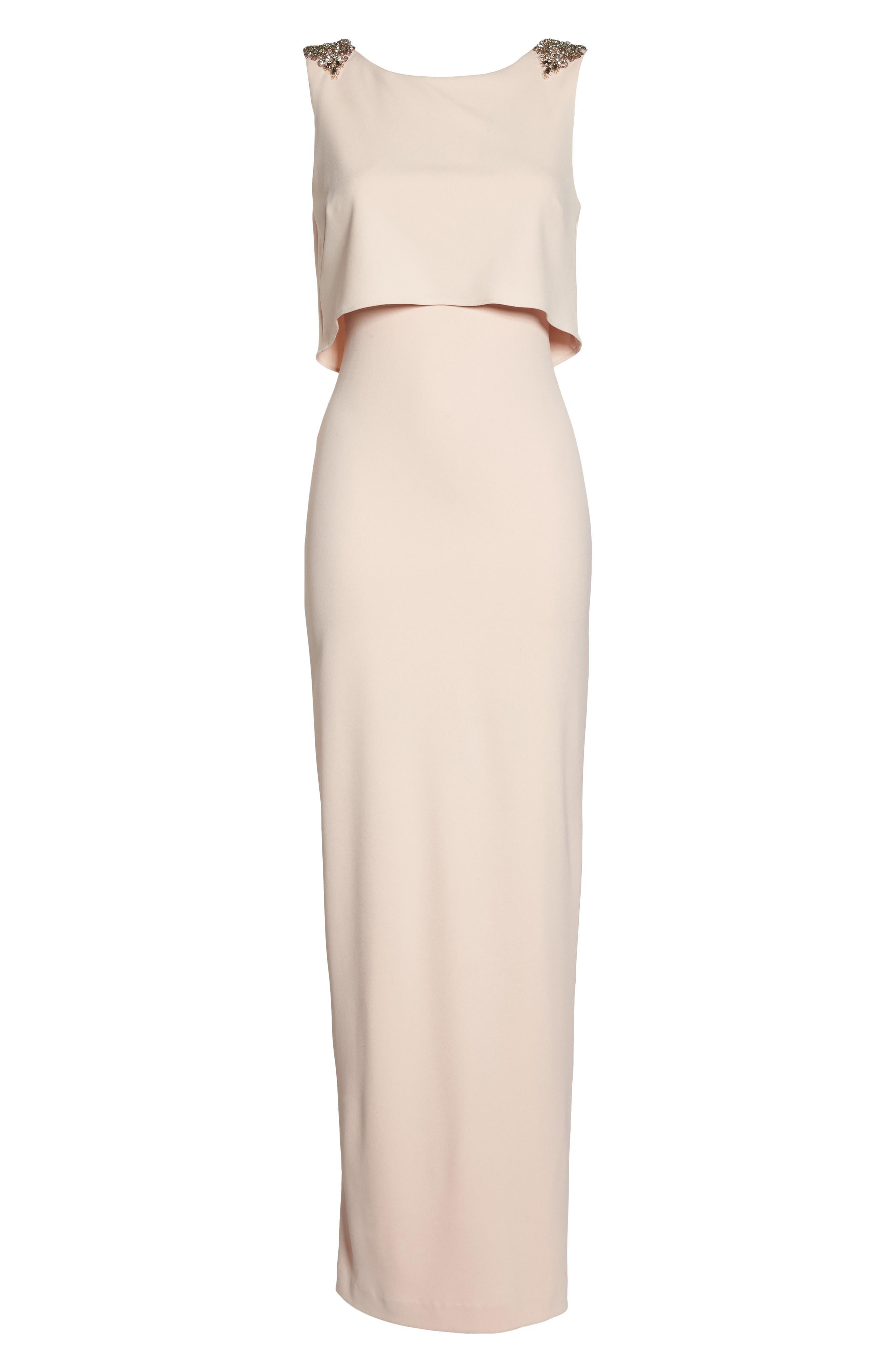 Embellished Crepe Popover Gown,                             Alternate thumbnail 6, color,                             Light Blush