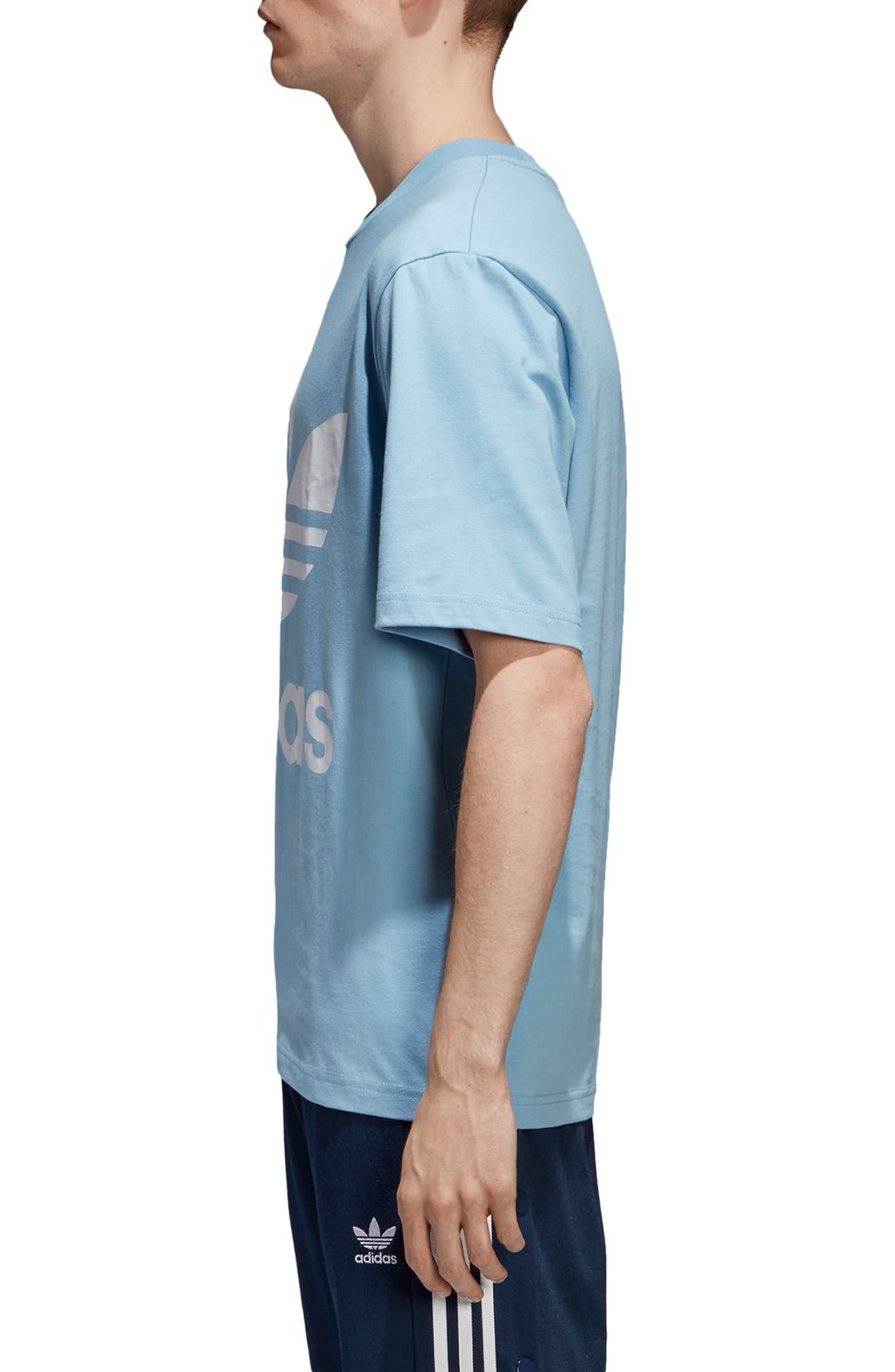 Oversized Trefoil Logo T-Shirt,                             Alternate thumbnail 3, color,                             Ash Blue