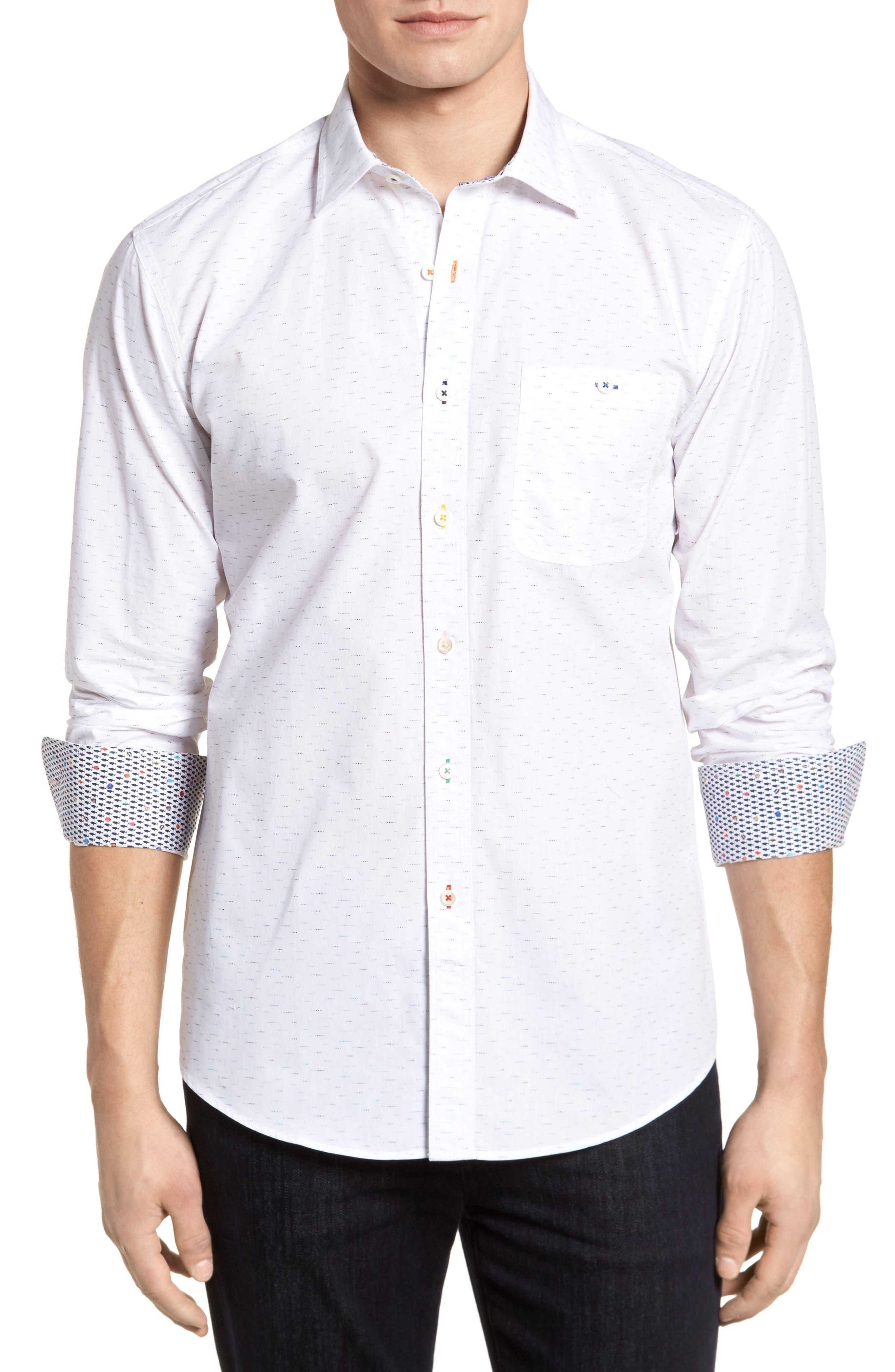 Dots Etc. Shaped Fit Sport Shirt,                             Main thumbnail 1, color,                             Chalk