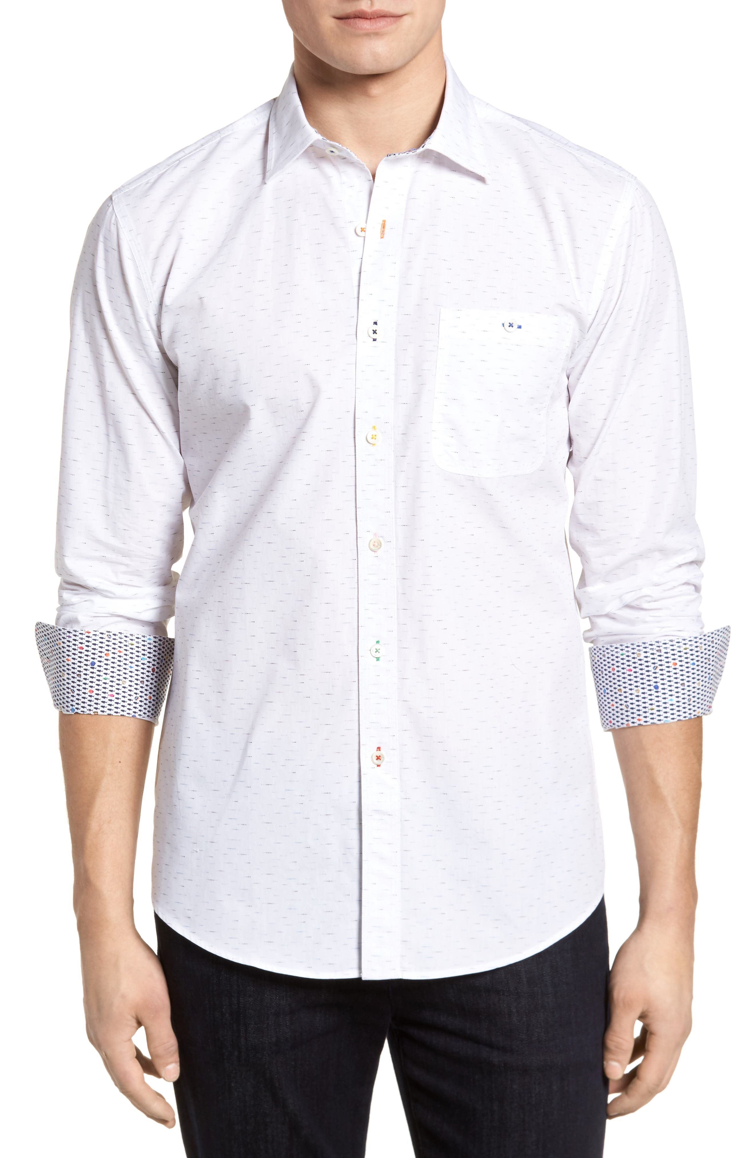 Bugatchi Dots Etc. Shaped Fit Sport Shirt