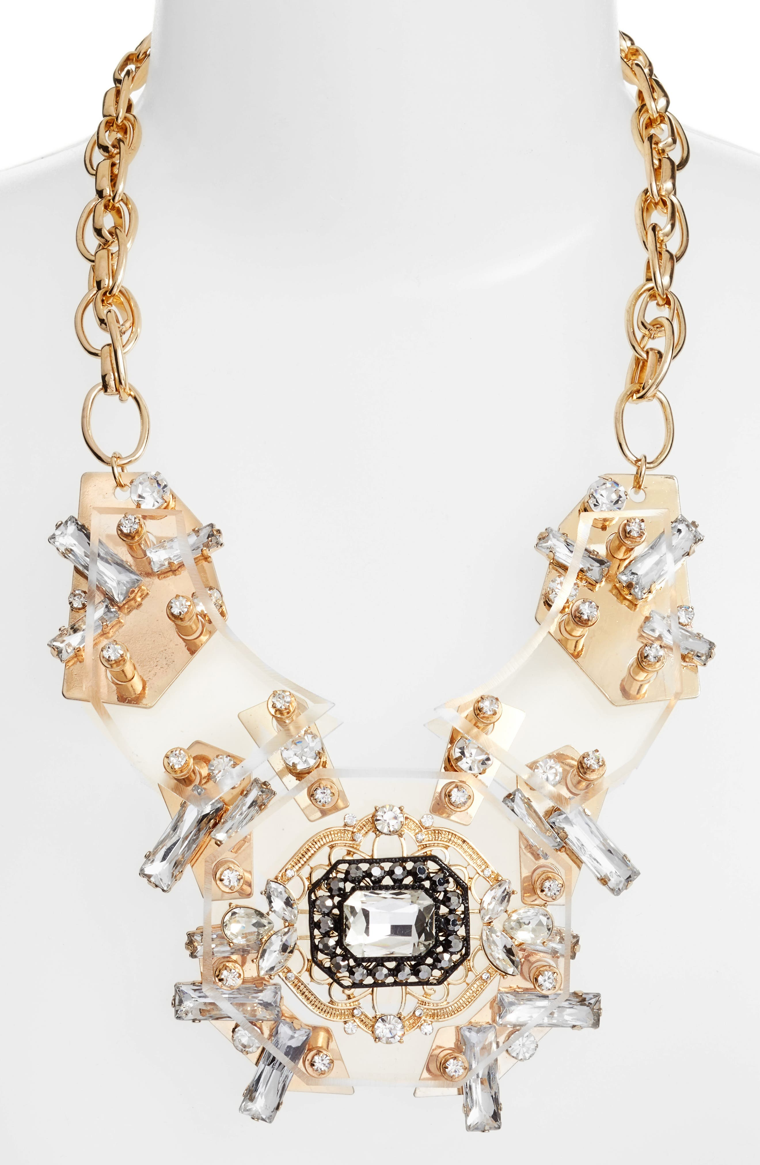 Crystal Statement Necklace,                         Main,                         color, Clear/ Gold