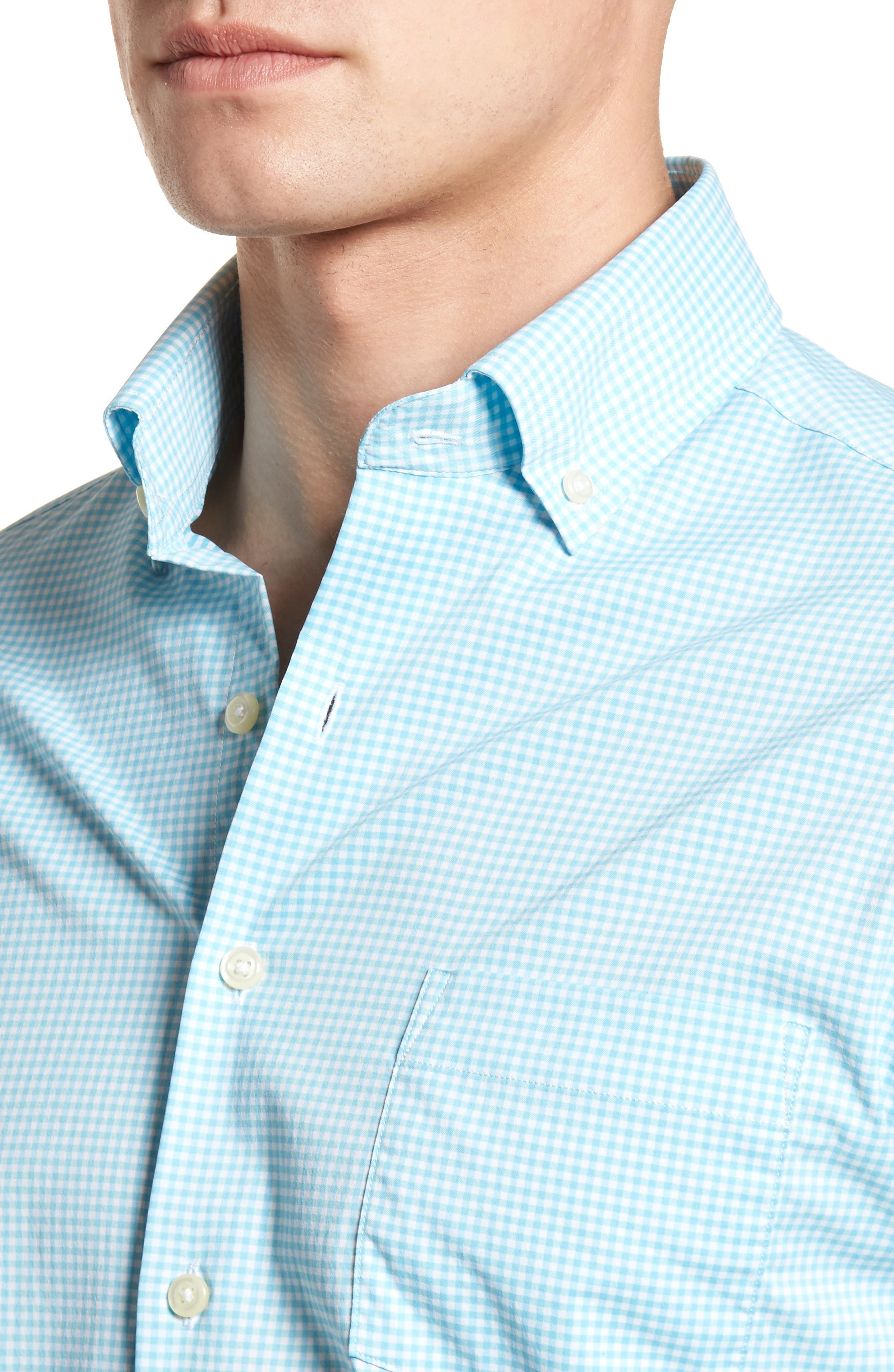 Mimi Regular Fit Check Performance Sport Shirt,                             Alternate thumbnail 4, color,                             Grotto Blue/ White