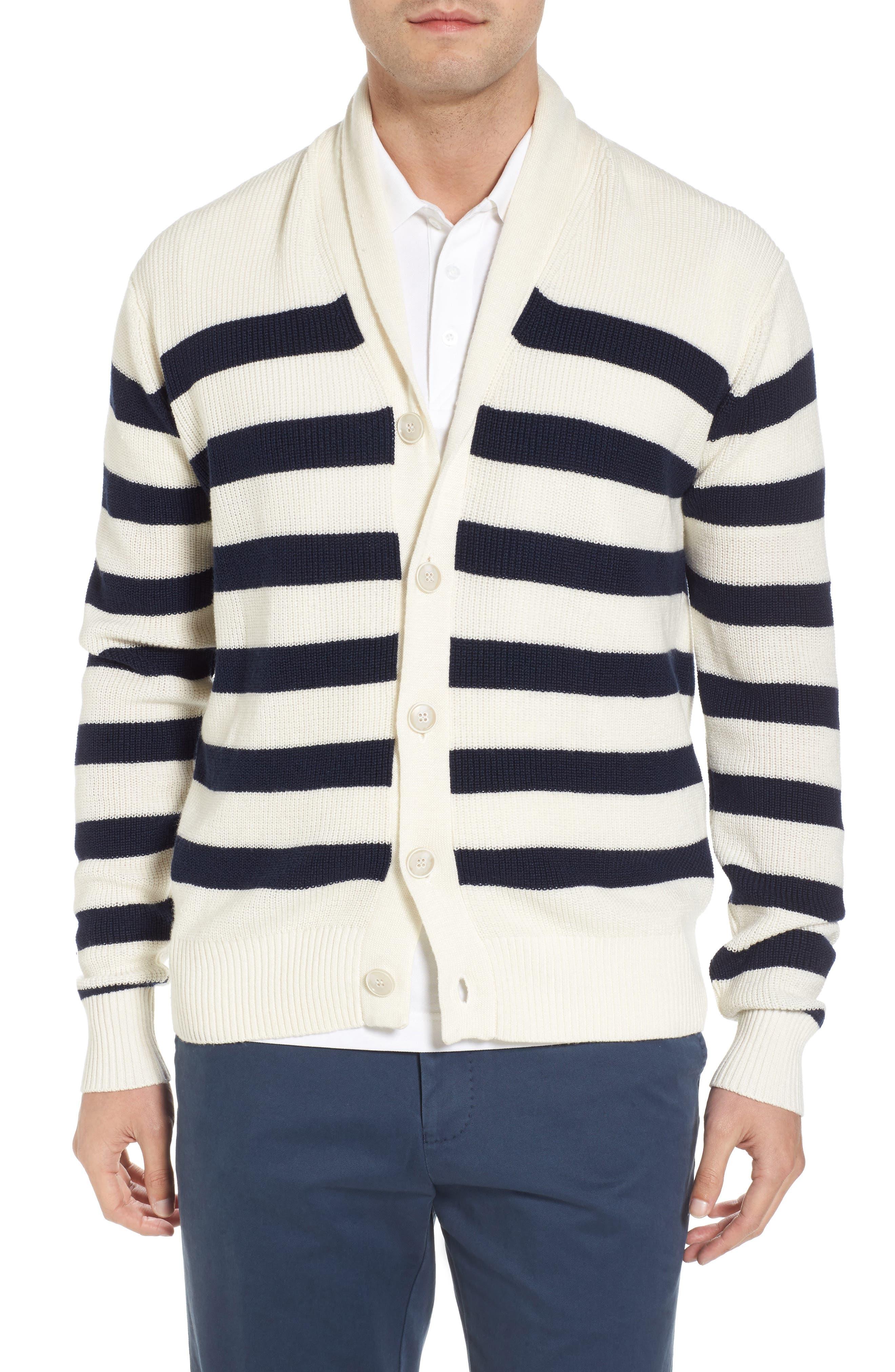 Crown Cool Sailor Stripe Merino Wool & Linen Cardigan,                             Main thumbnail 1, color,                             Yankee Blue