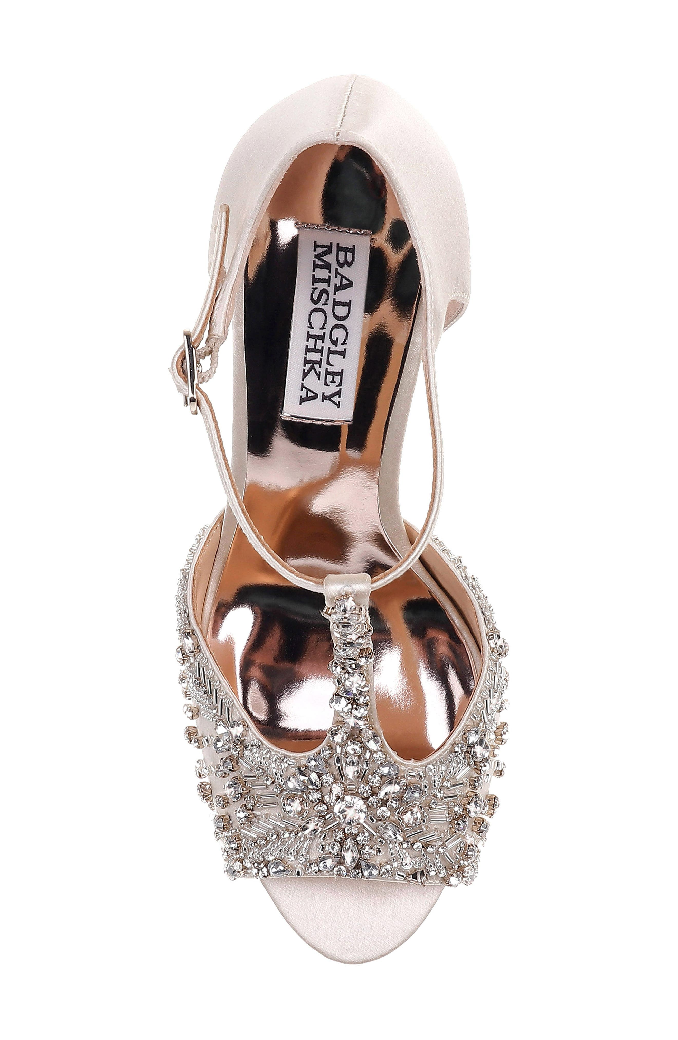 Stacey Crystal Embellished T-Strap Sandal,                             Alternate thumbnail 5, color,                             Ivory Satin