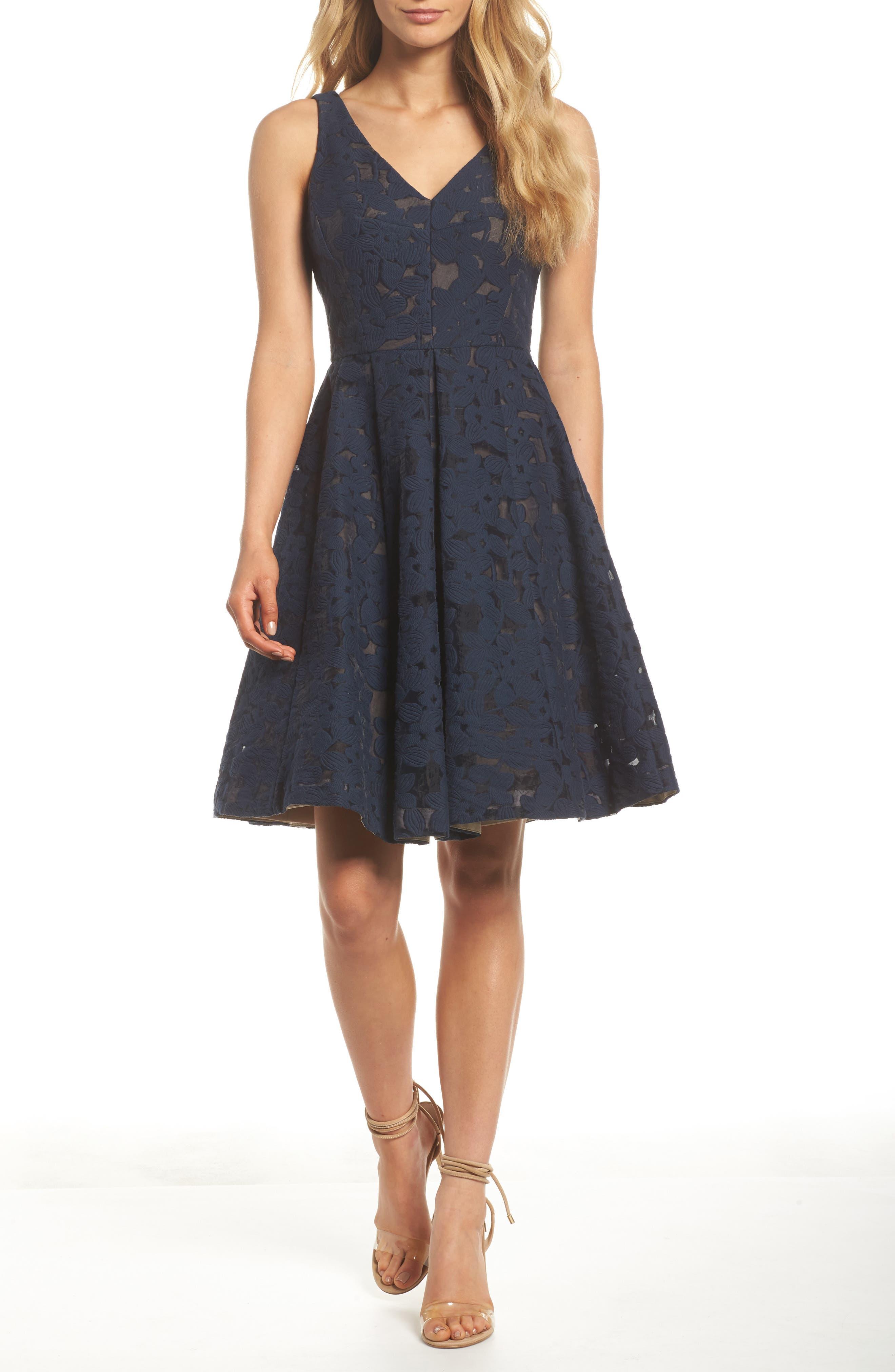 Fit & Flare Dress,                             Main thumbnail 1, color,                             Dark Navy