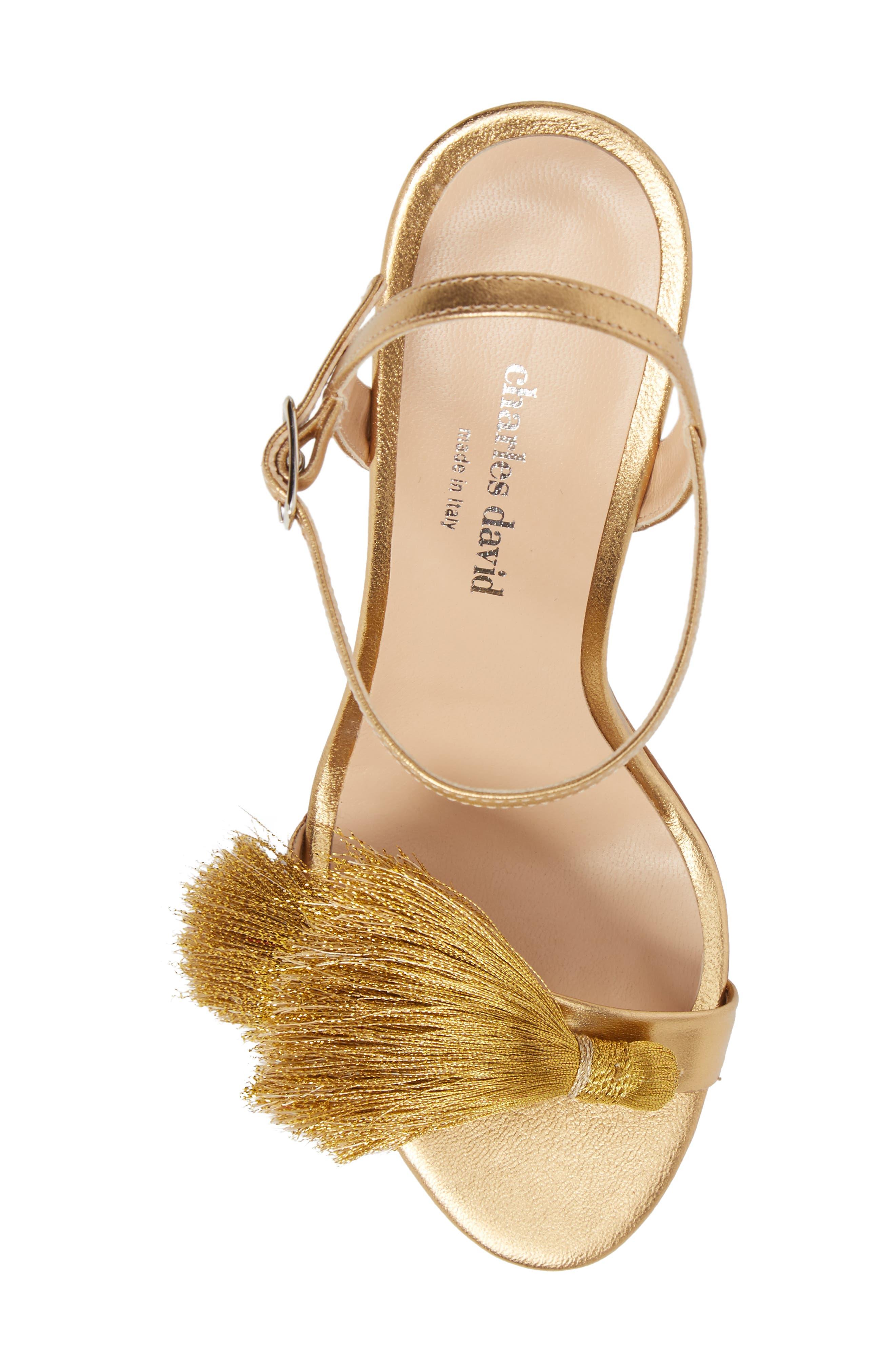 Sassy Tassel Sandal,                             Alternate thumbnail 5, color,                             Gold Leather