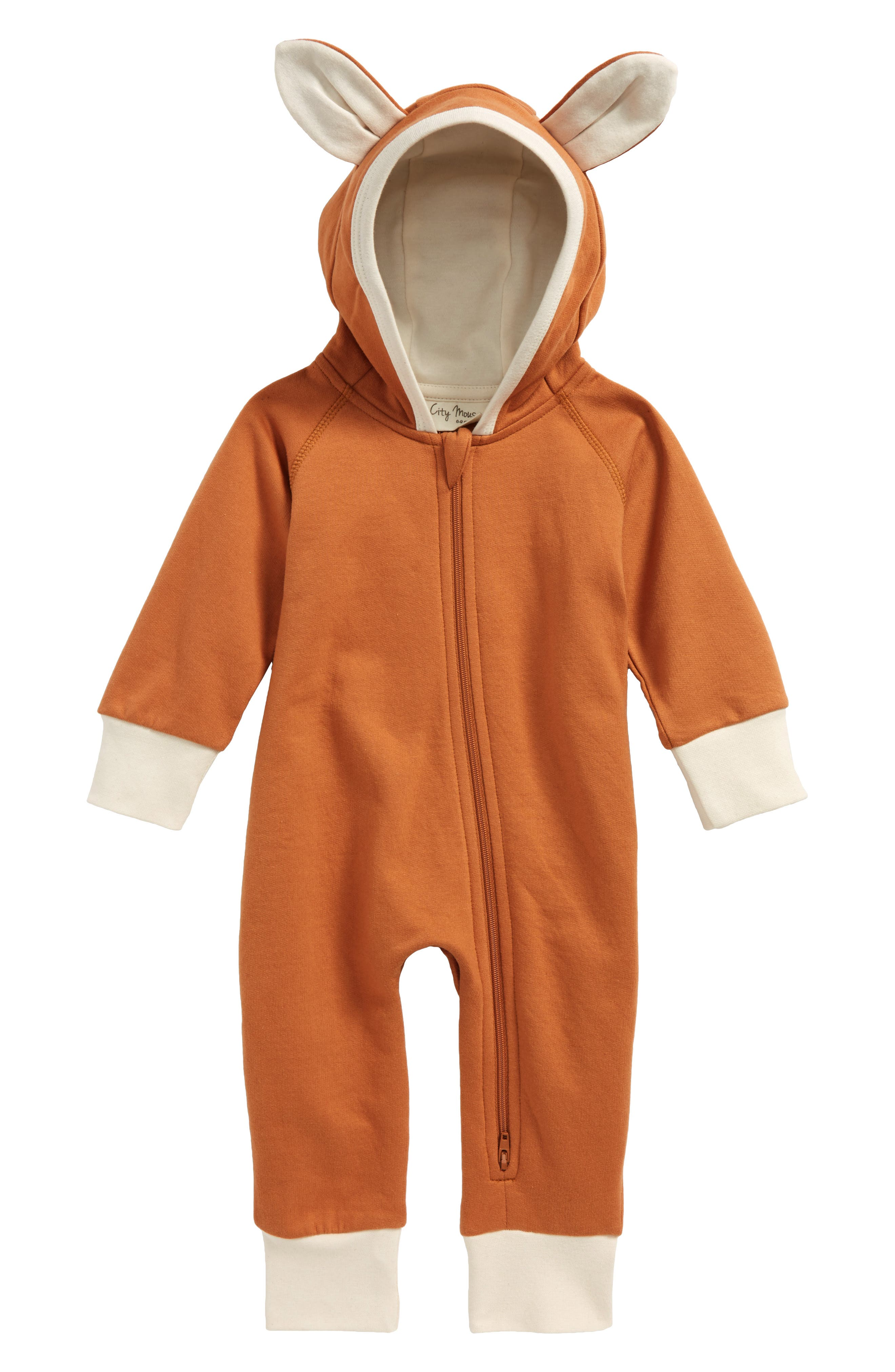 Fox Hooded Organic Cotton Romper,                         Main,                         color, Rust