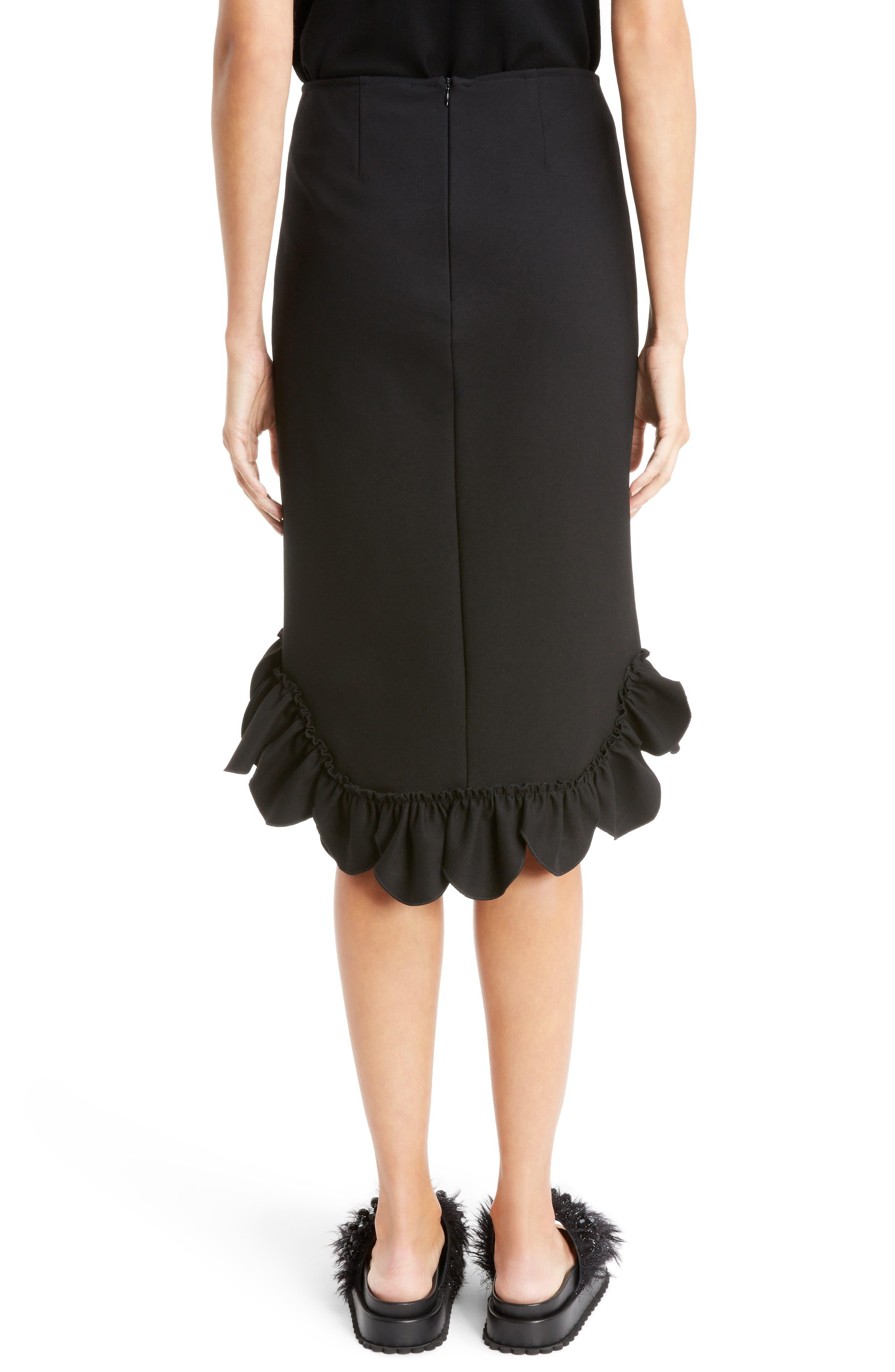 Asymmetrical Ruffle Skirt,                             Alternate thumbnail 3, color,                             Black