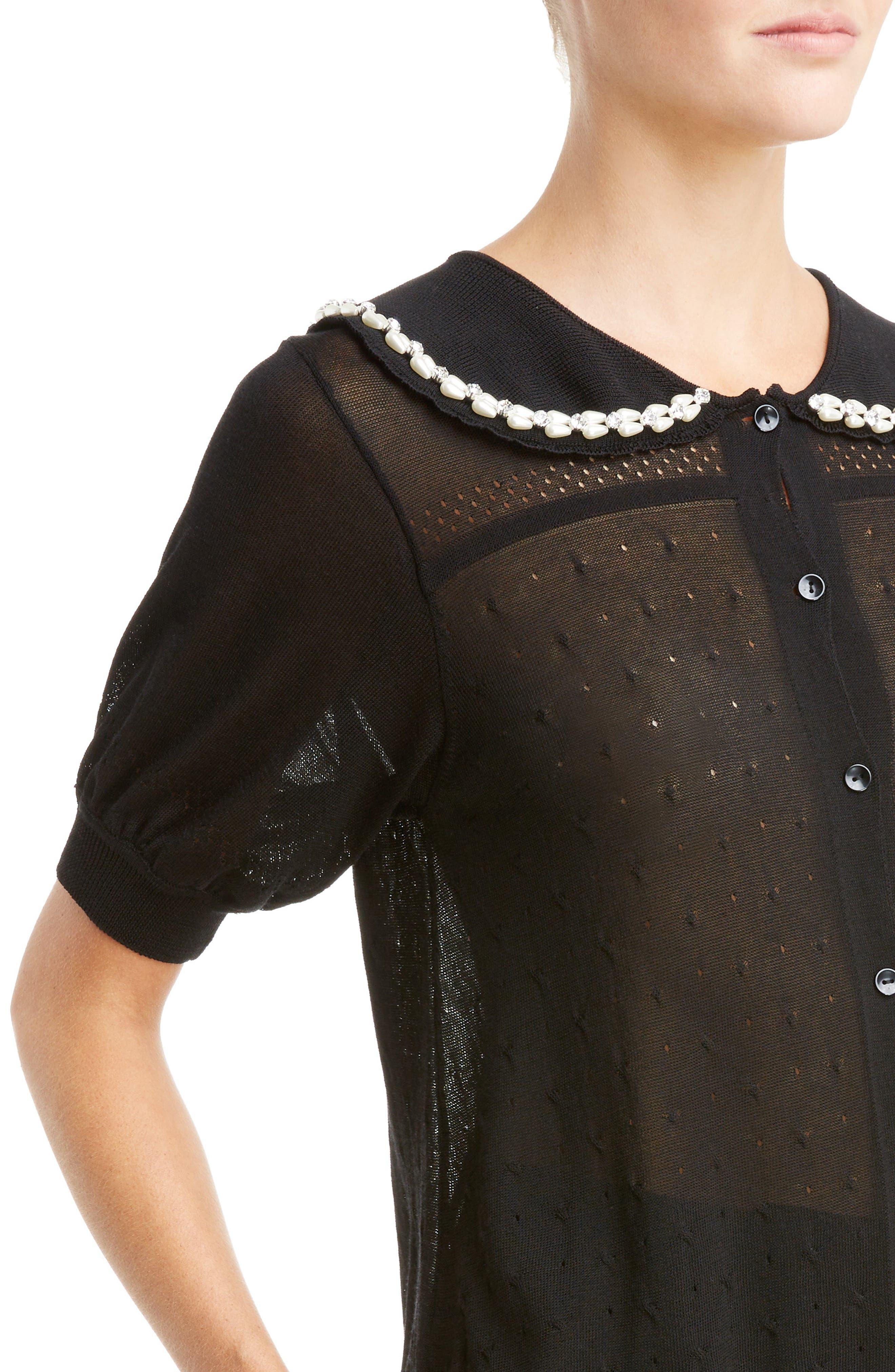 Beaded Lace Knit Cardigan,                             Alternate thumbnail 4, color,                             Black