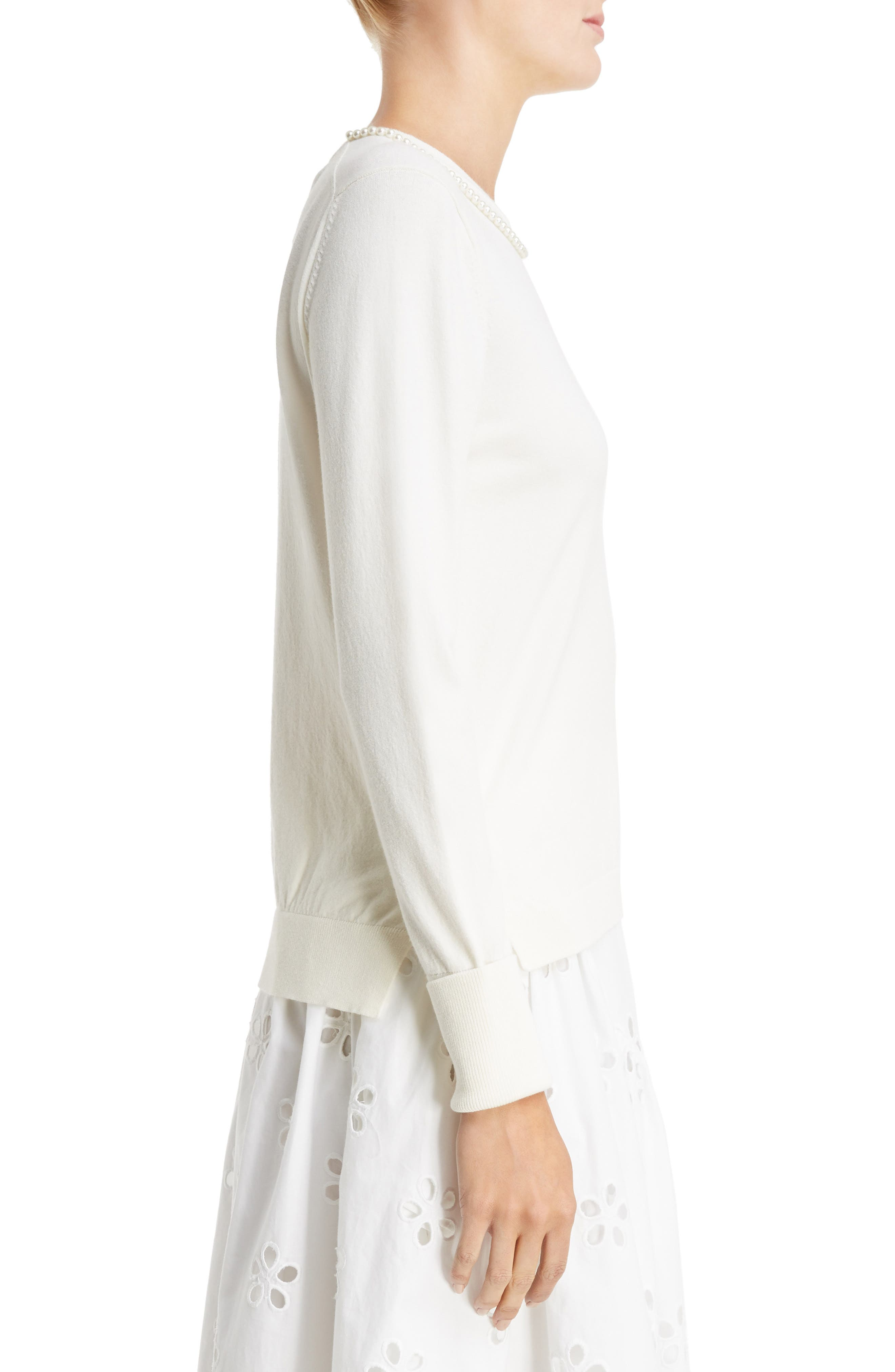 Imitation Pearl Embellished Sweater,                             Alternate thumbnail 3, color,                             Ivory Pearl