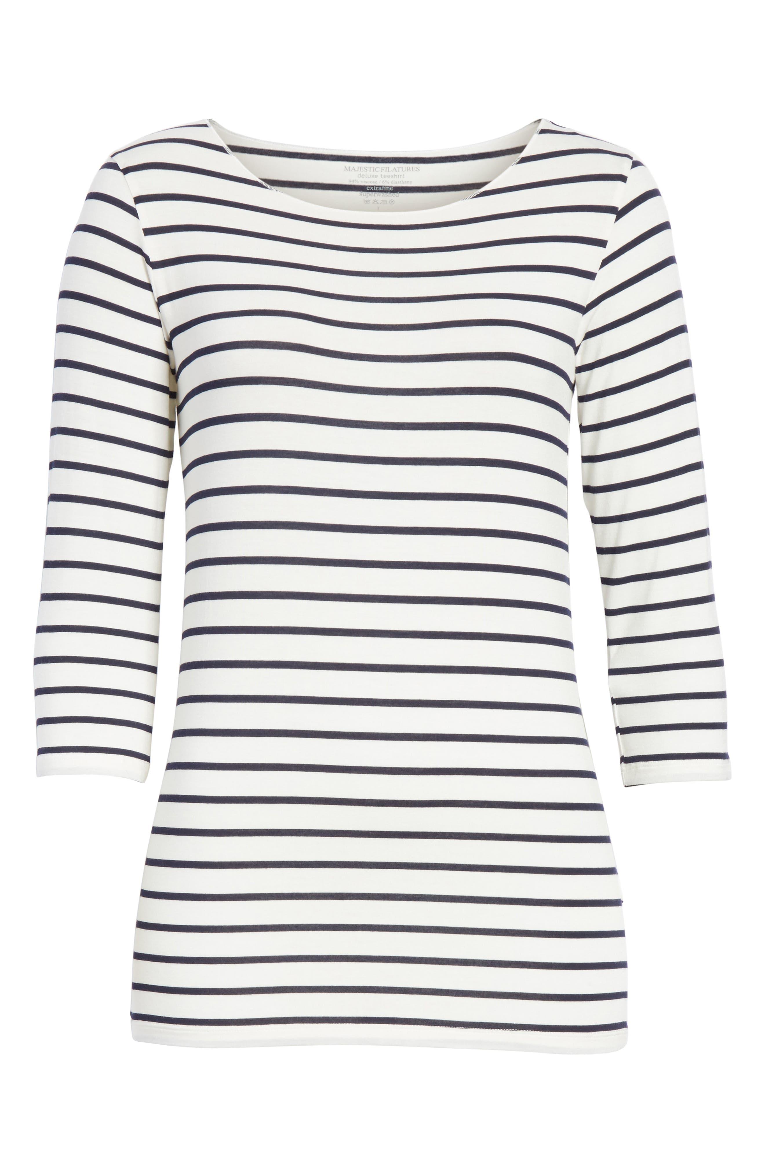 Alternate Image 6  - Majestic Filatures Stripe Boat Neck Shirt