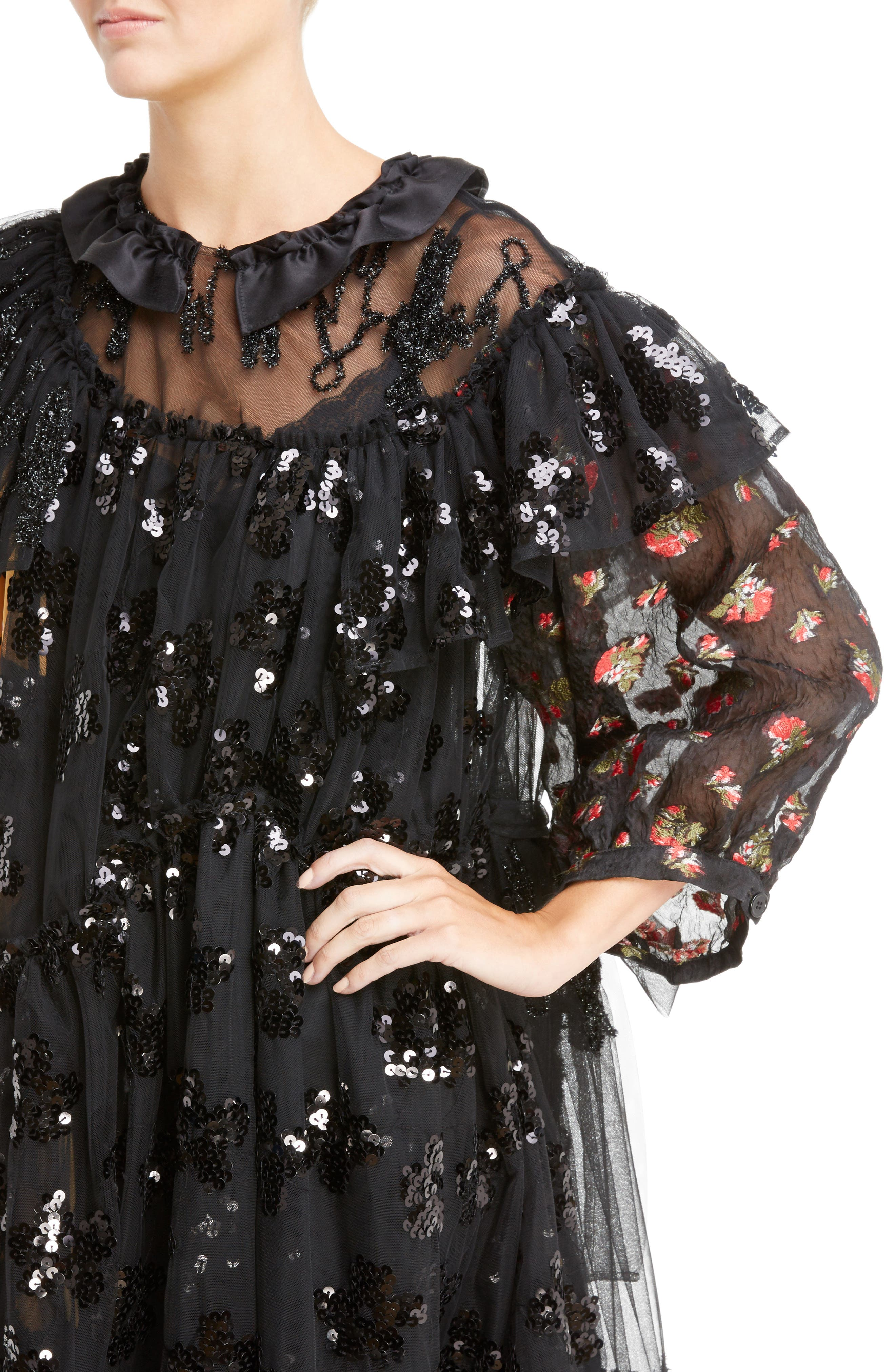 Frill Patchwork Dress,                             Alternate thumbnail 4, color,                             Black Multi