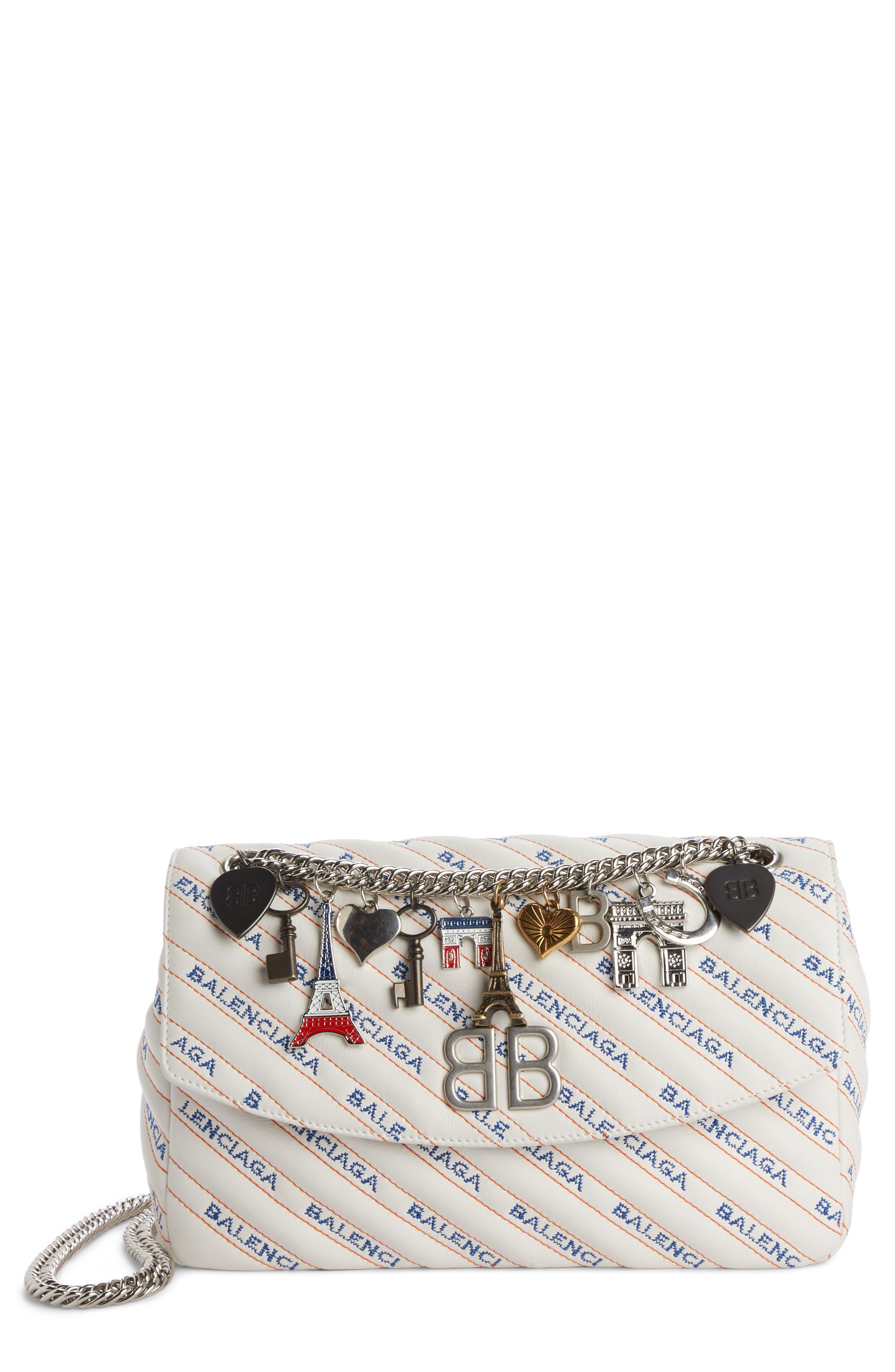 Balenciaga Medium BB Round Logo Charm Crossbody Bag
