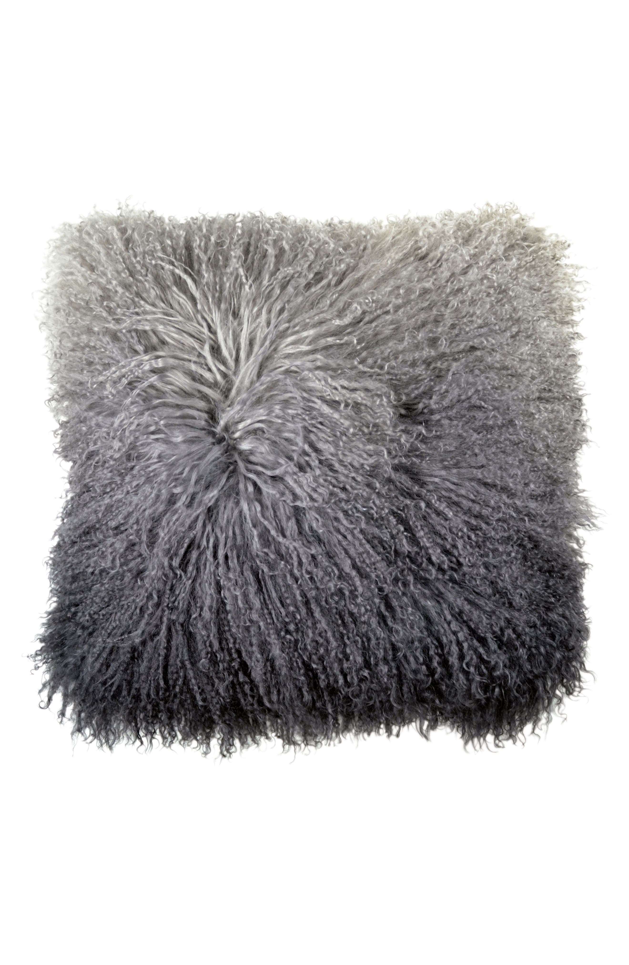 Dip Dye Sheepskin Accent Pillow,                         Main,                         color, Charcoal