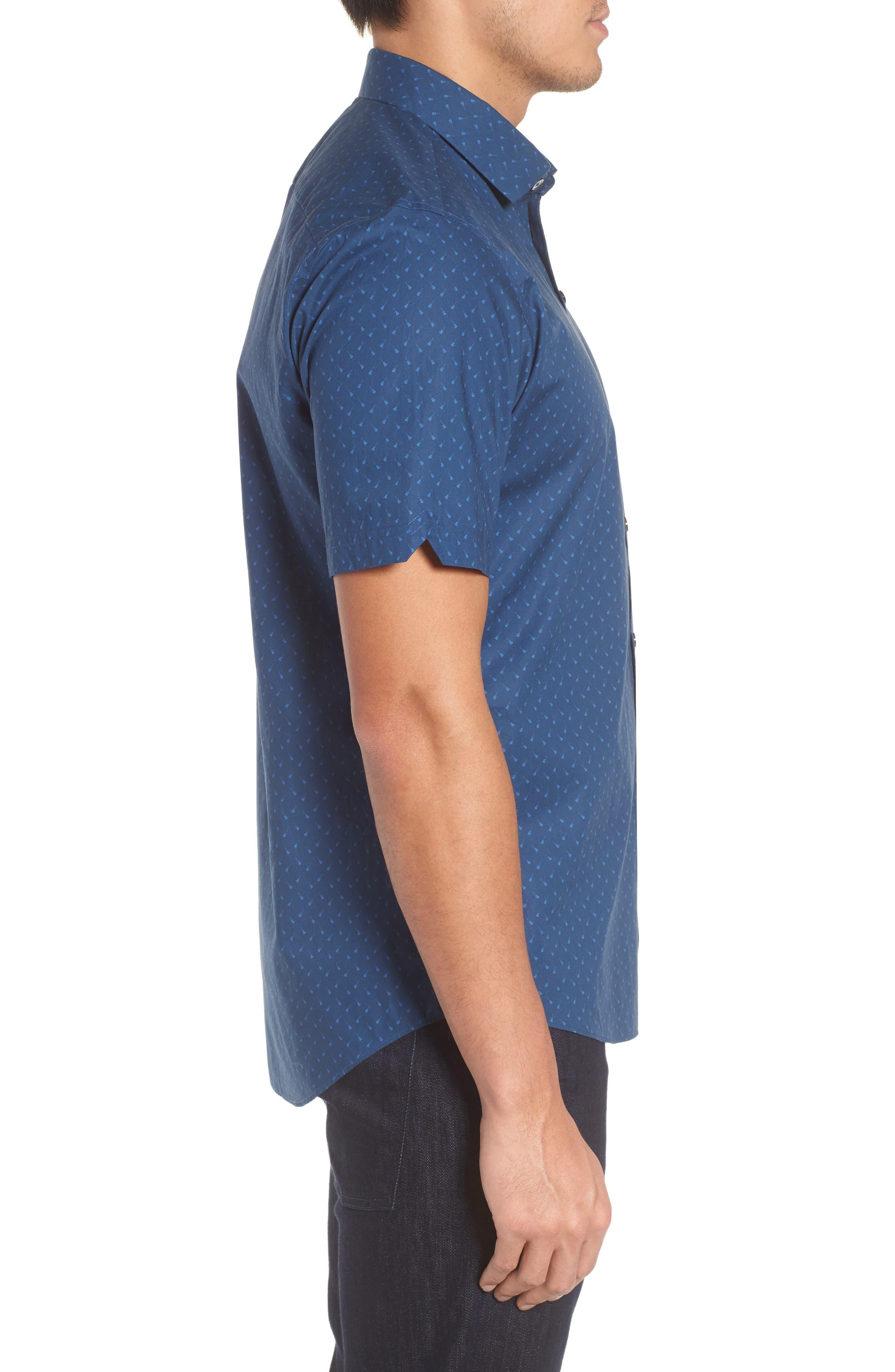 Shelton Slim Fit Guitar Print Sport Shirt,                             Alternate thumbnail 3, color,                             Dark Blue