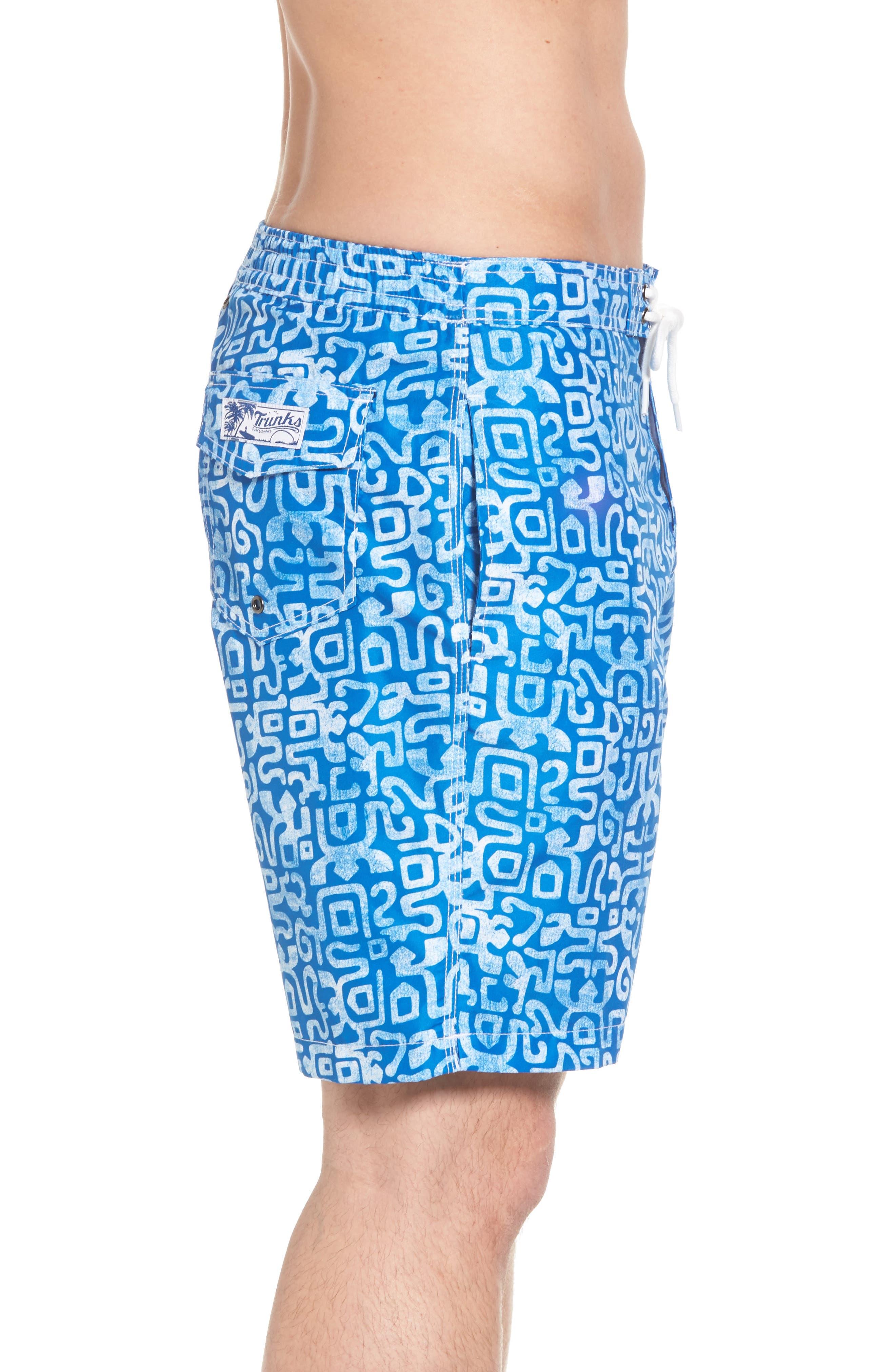 Trunks Swim & Surf CO. Swami Geo Print Board Shorts,                             Alternate thumbnail 3, color,                             Nautical Blue/ White