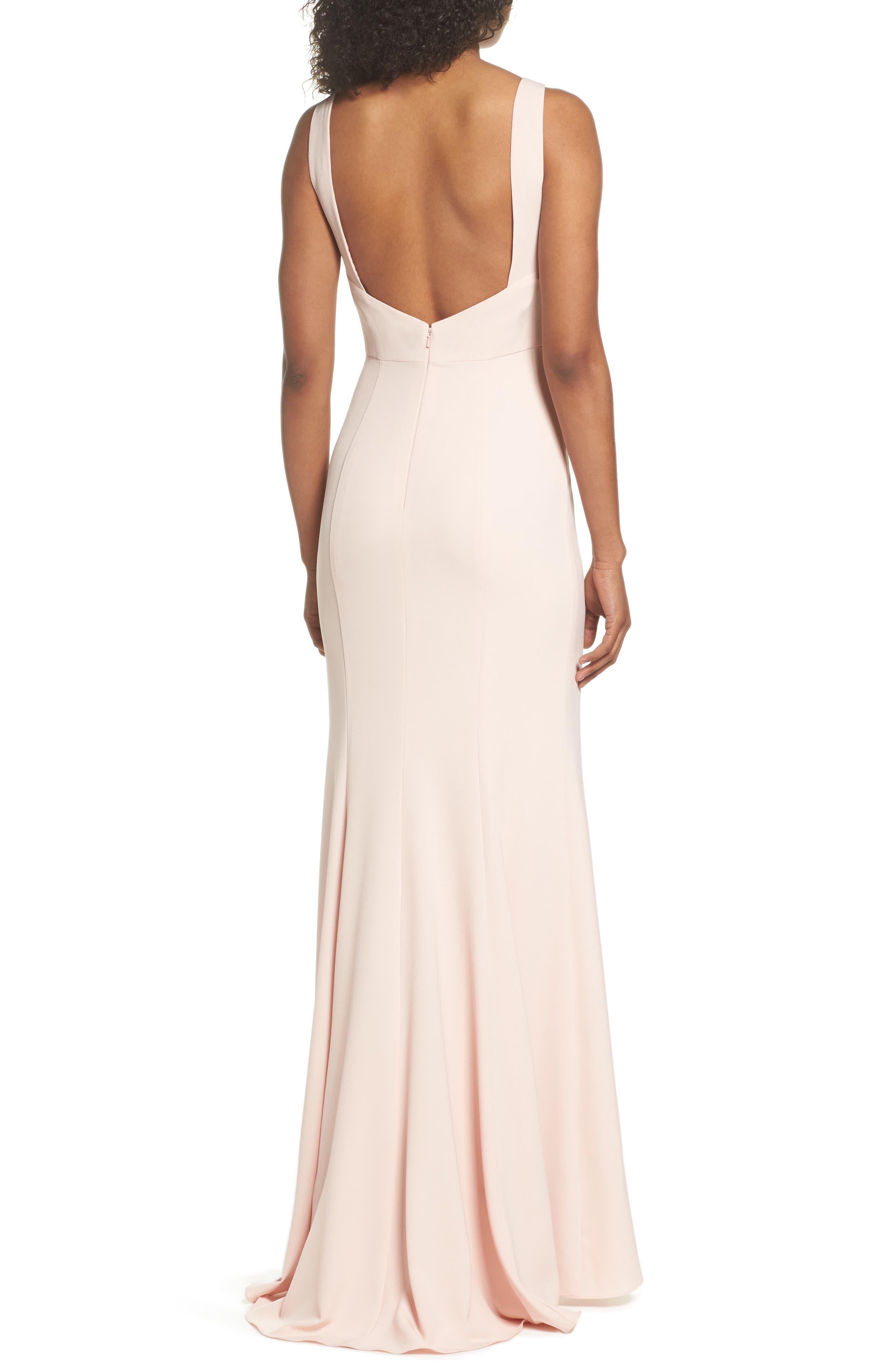 Joelle Low Back Crepe Gown,                             Alternate thumbnail 2, color,                             Blush