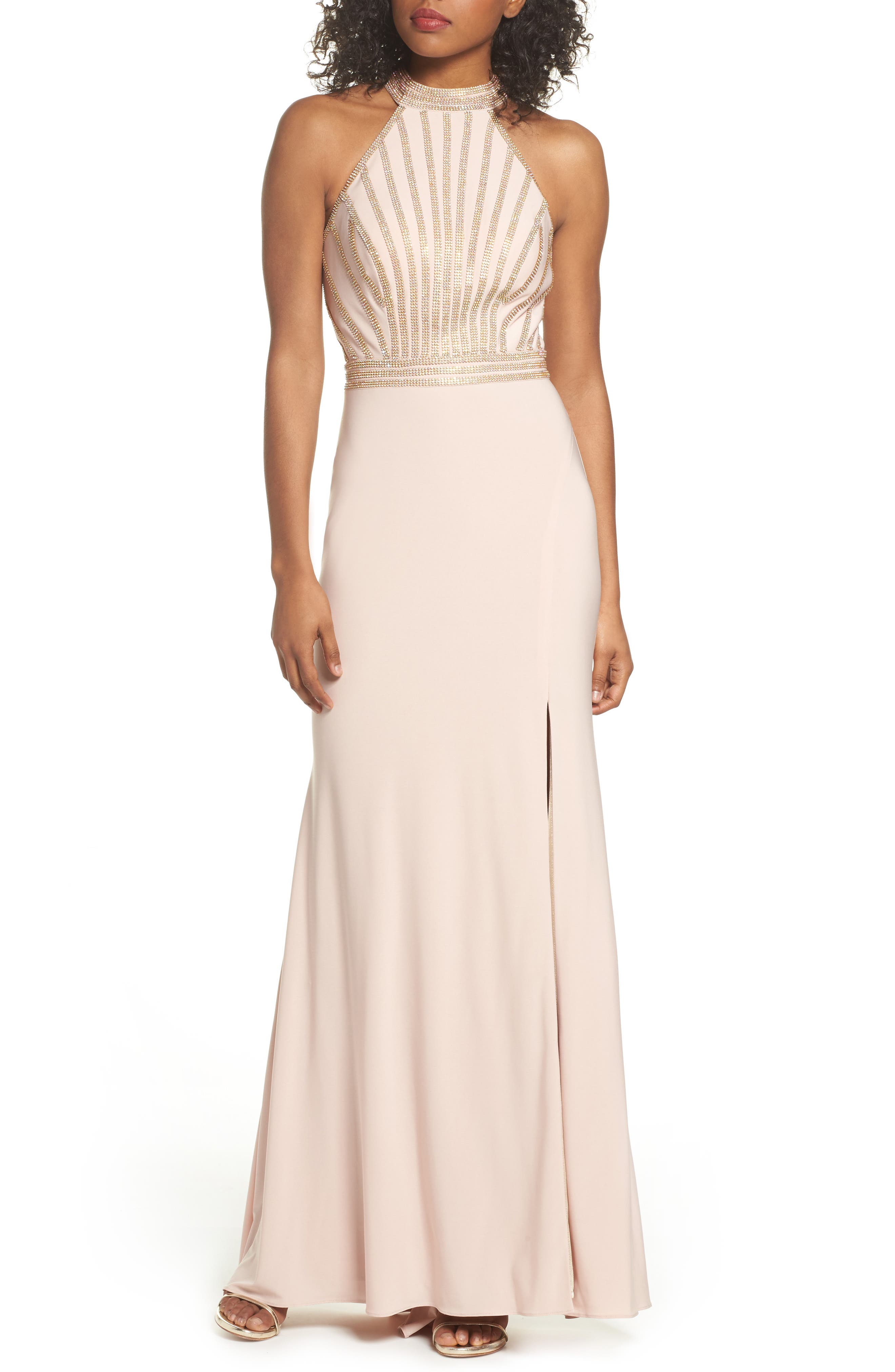 Embellished Halter Neck Gown,                         Main,                         color, Blush/ Gold