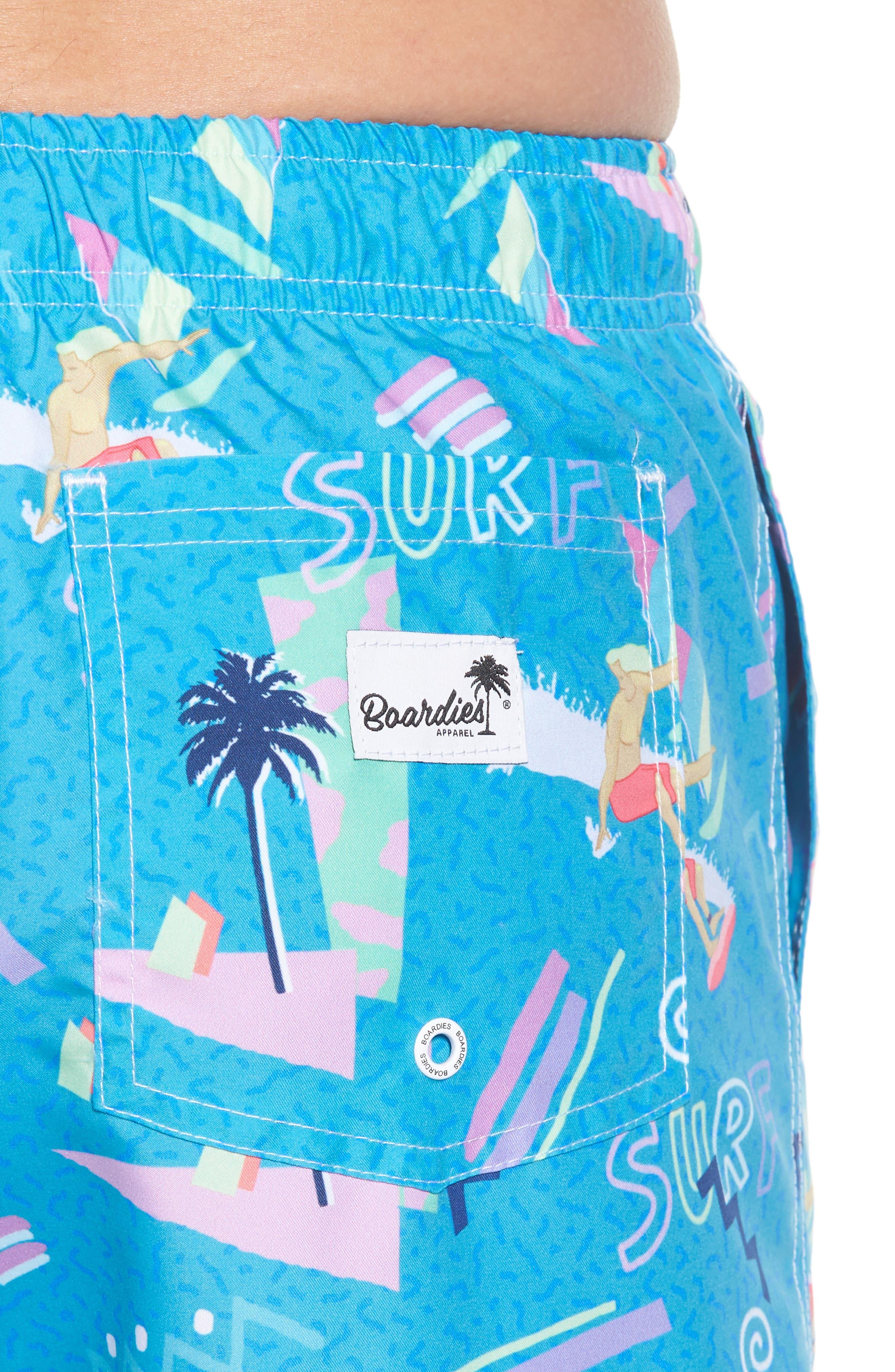 x Yoko Honda Print Swim Shorts,                             Alternate thumbnail 4, color,                             Blue