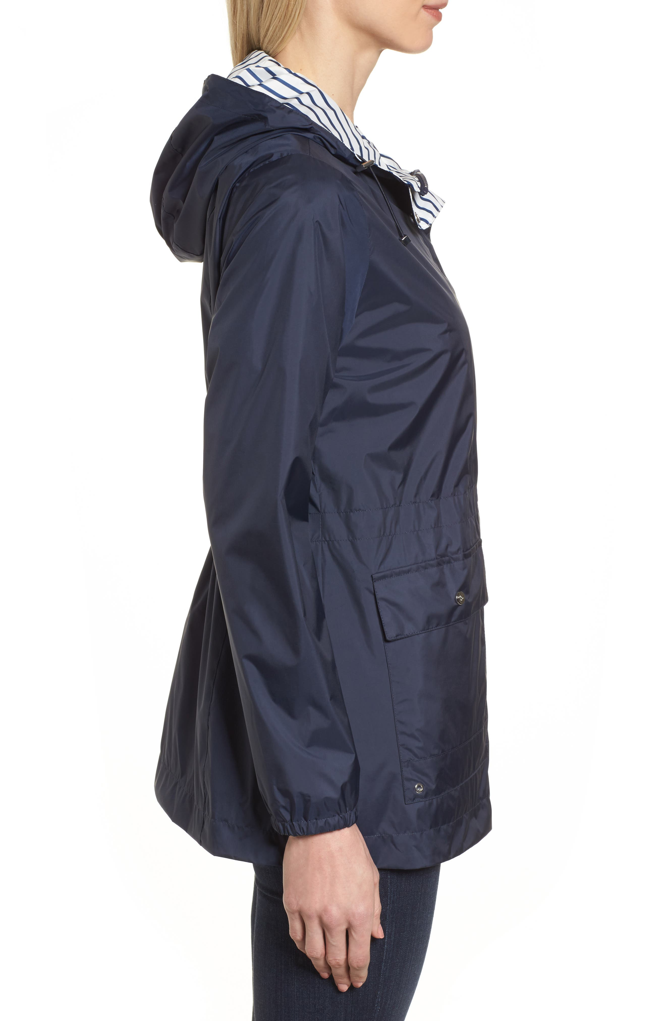 Solid to Stripe Reversible Jacket,                             Alternate thumbnail 4, color,                             Navy