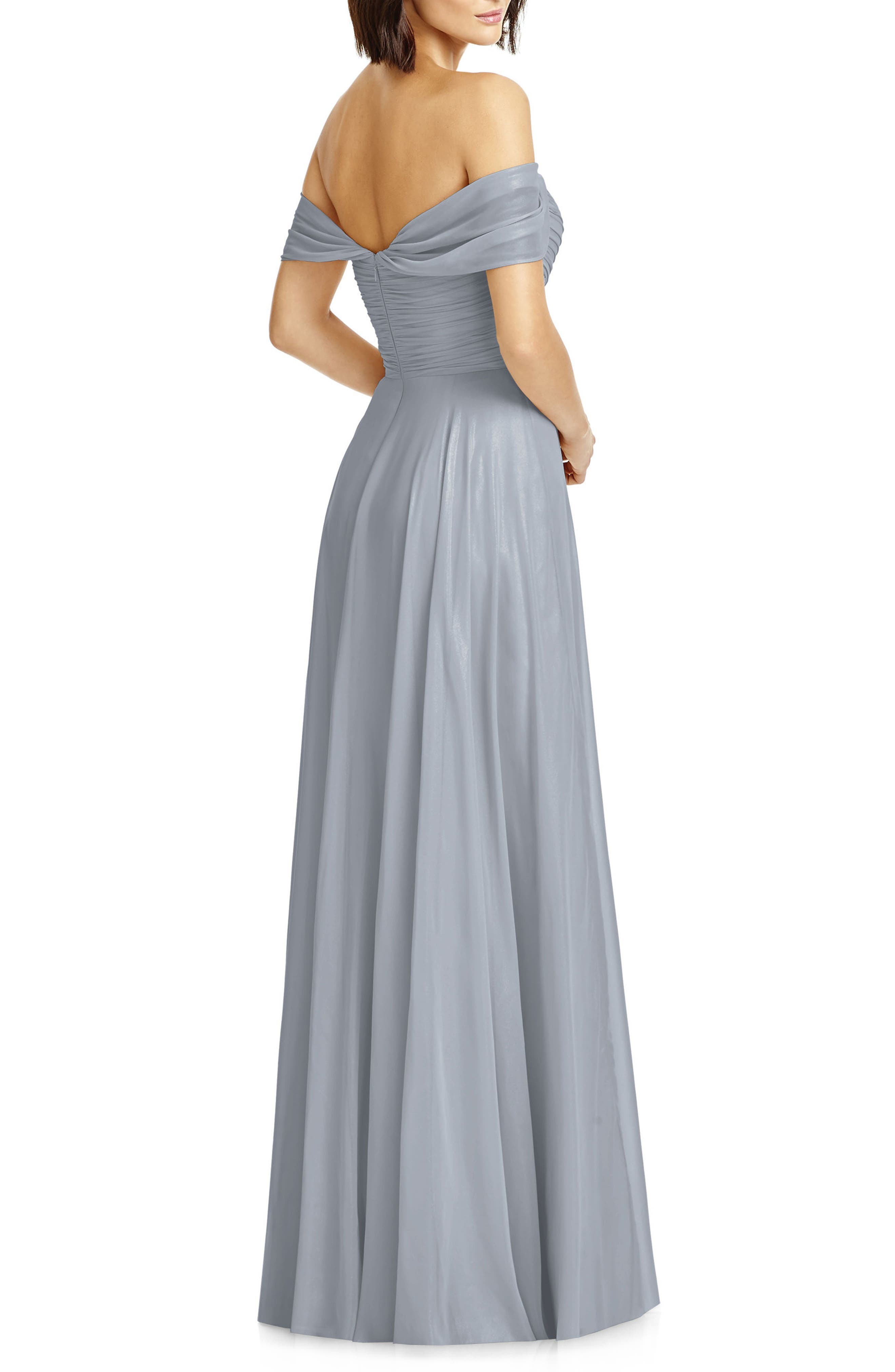 Alternate Image 2  - Dessy Collection Lux Off the Shoulder Chiffon Gown