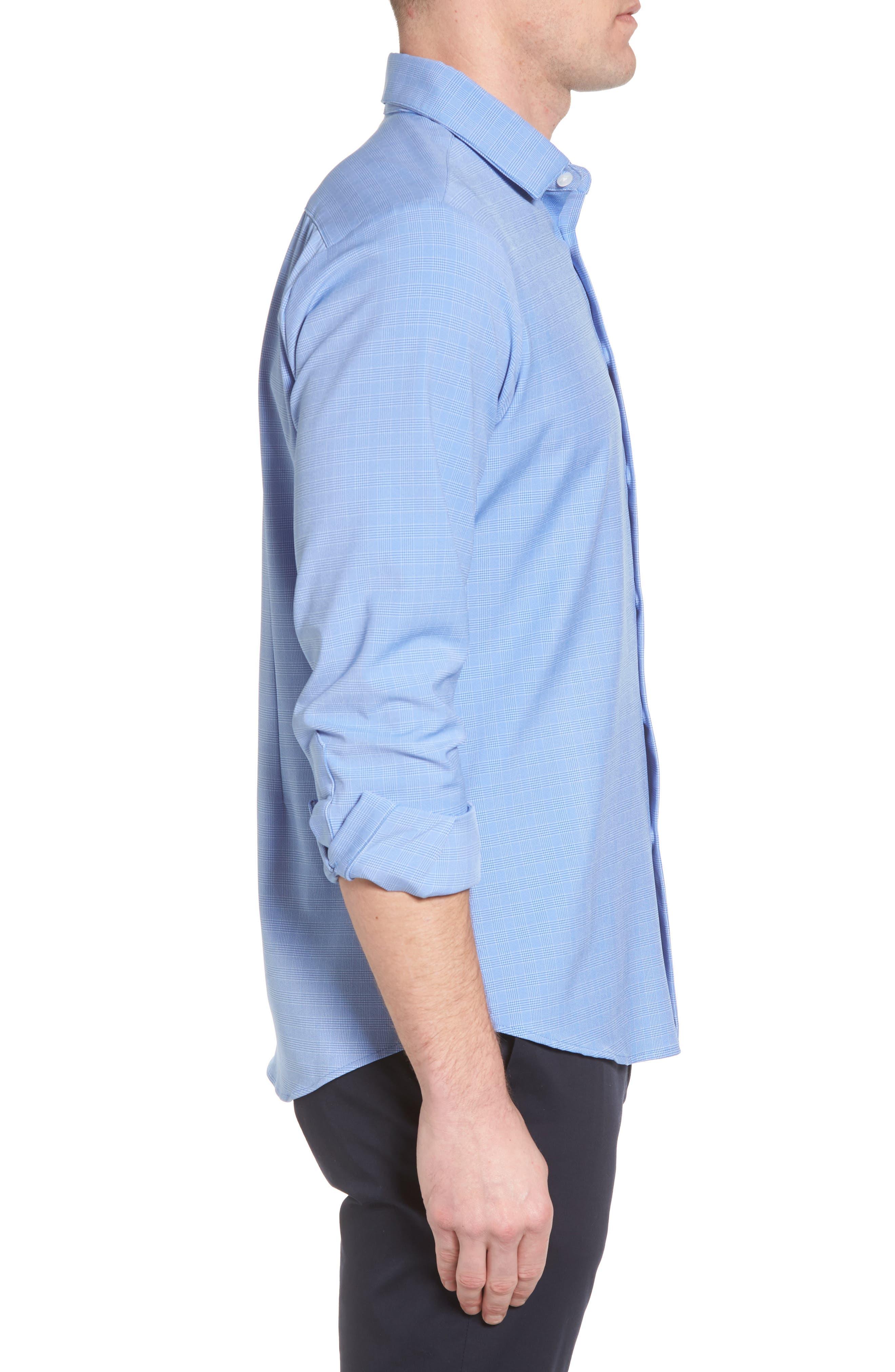 Maverick Slim Fit Plaid Sport Shirt,                             Alternate thumbnail 3, color,                             Blue