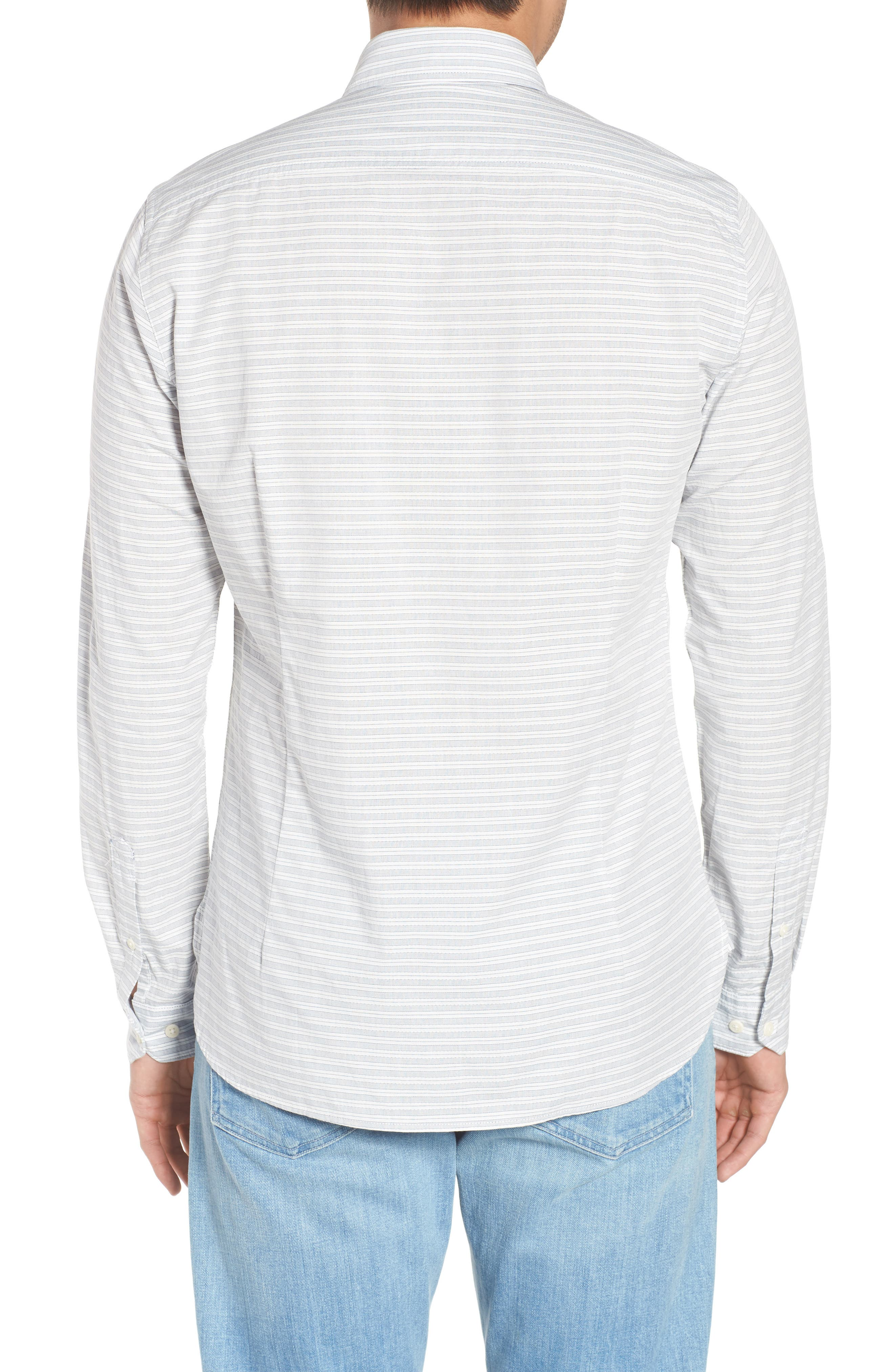 Huchen Regular Fit Stripe Sport Shirt,                             Alternate thumbnail 2, color,                             White