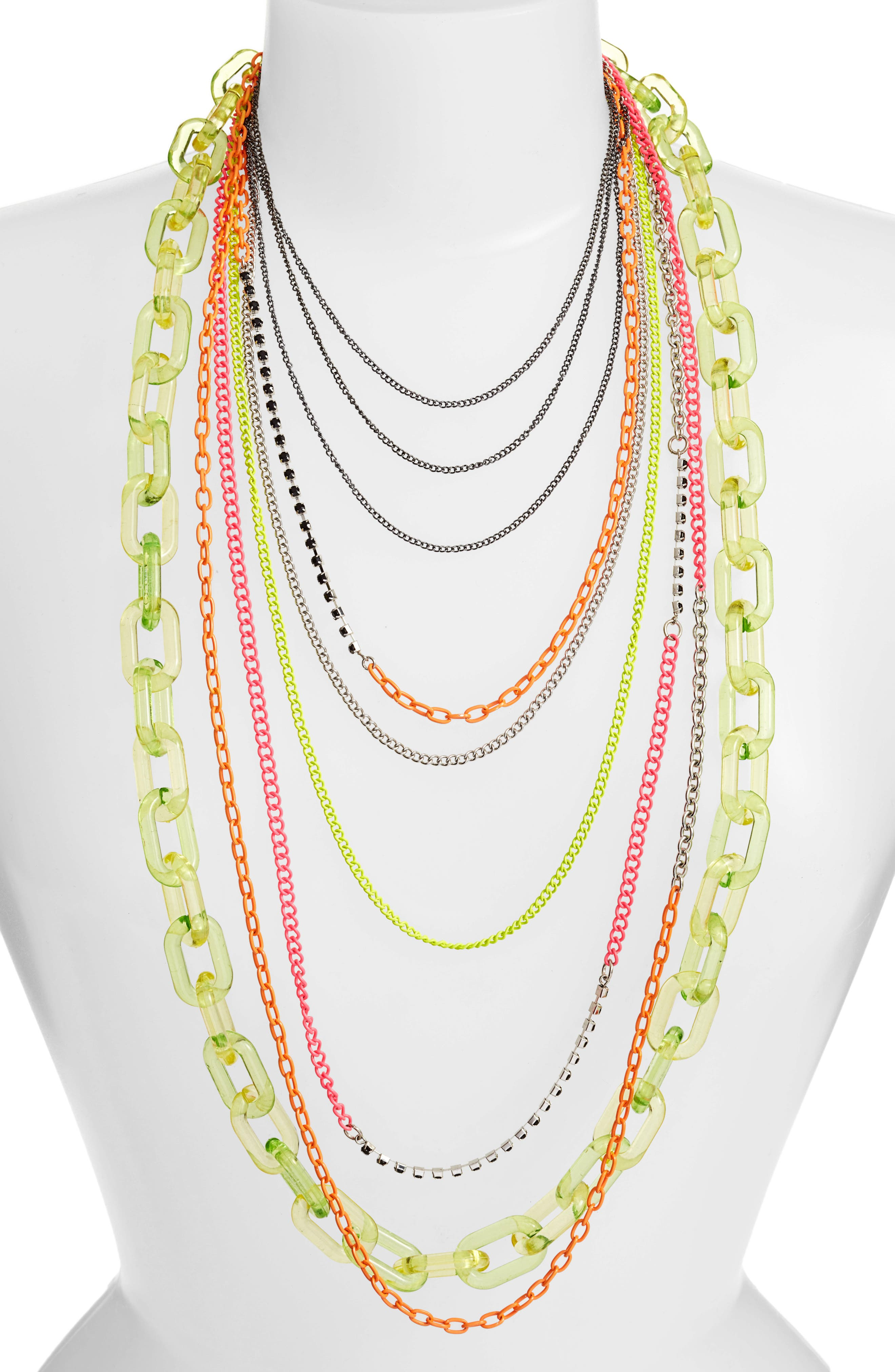 Layered Link Necklace,                             Main thumbnail 1, color,                             Neon Lime