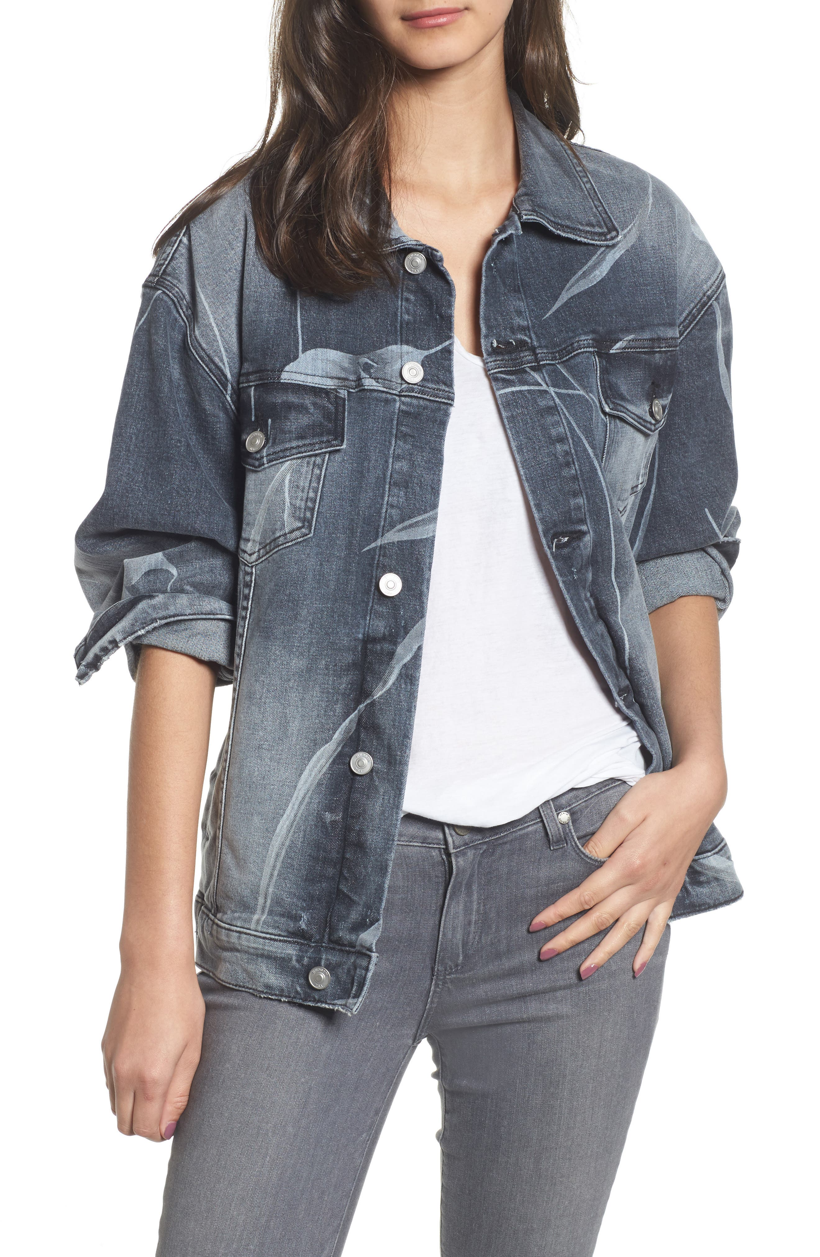 New Boyfriend Denim Trucker Jacket,                         Main,                         color, Noir Bloom