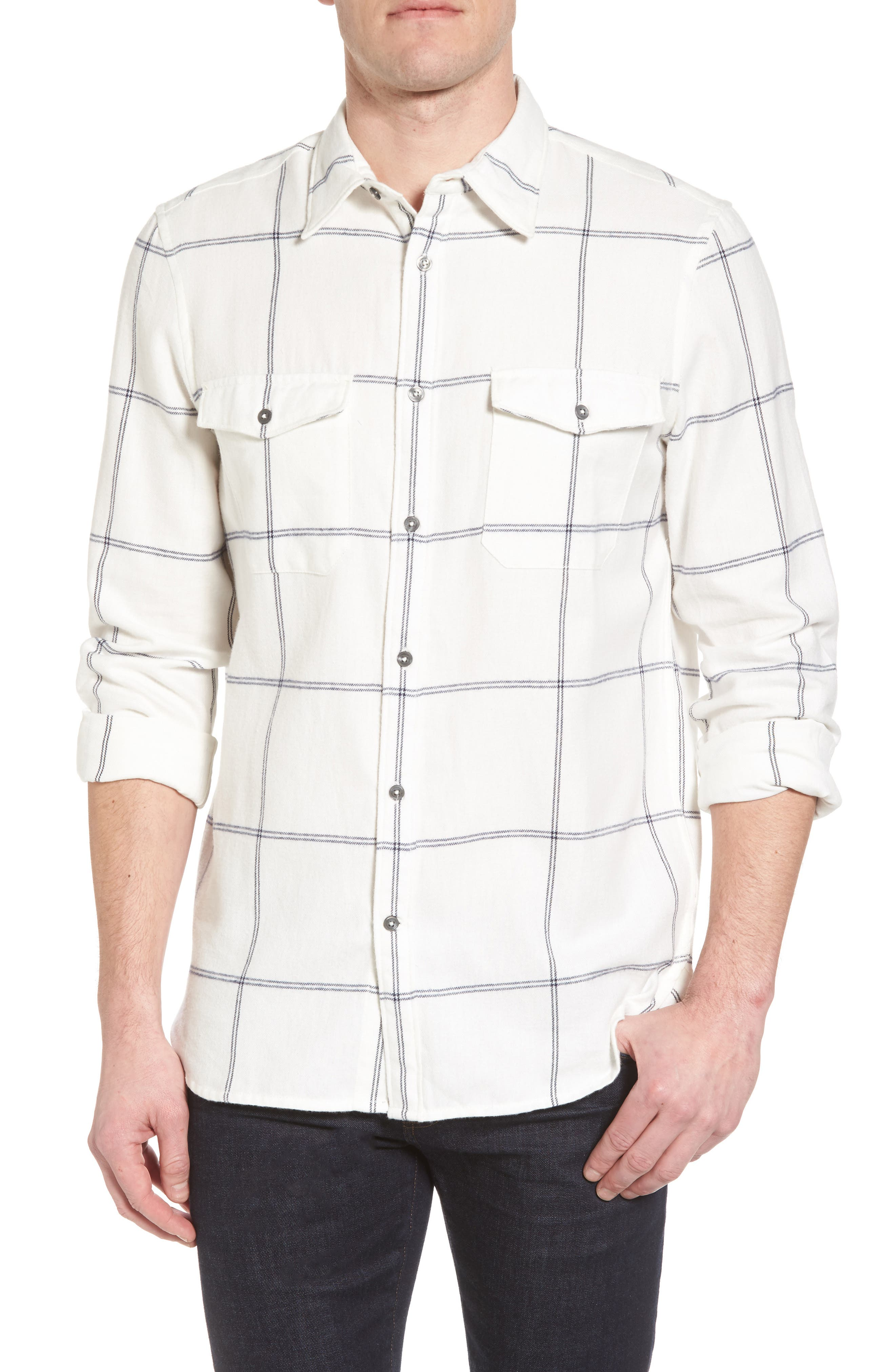 Regular Fit Windowpane Flannel Sport Shirt,                         Main,                         color, Turtle Dove/Black Iris