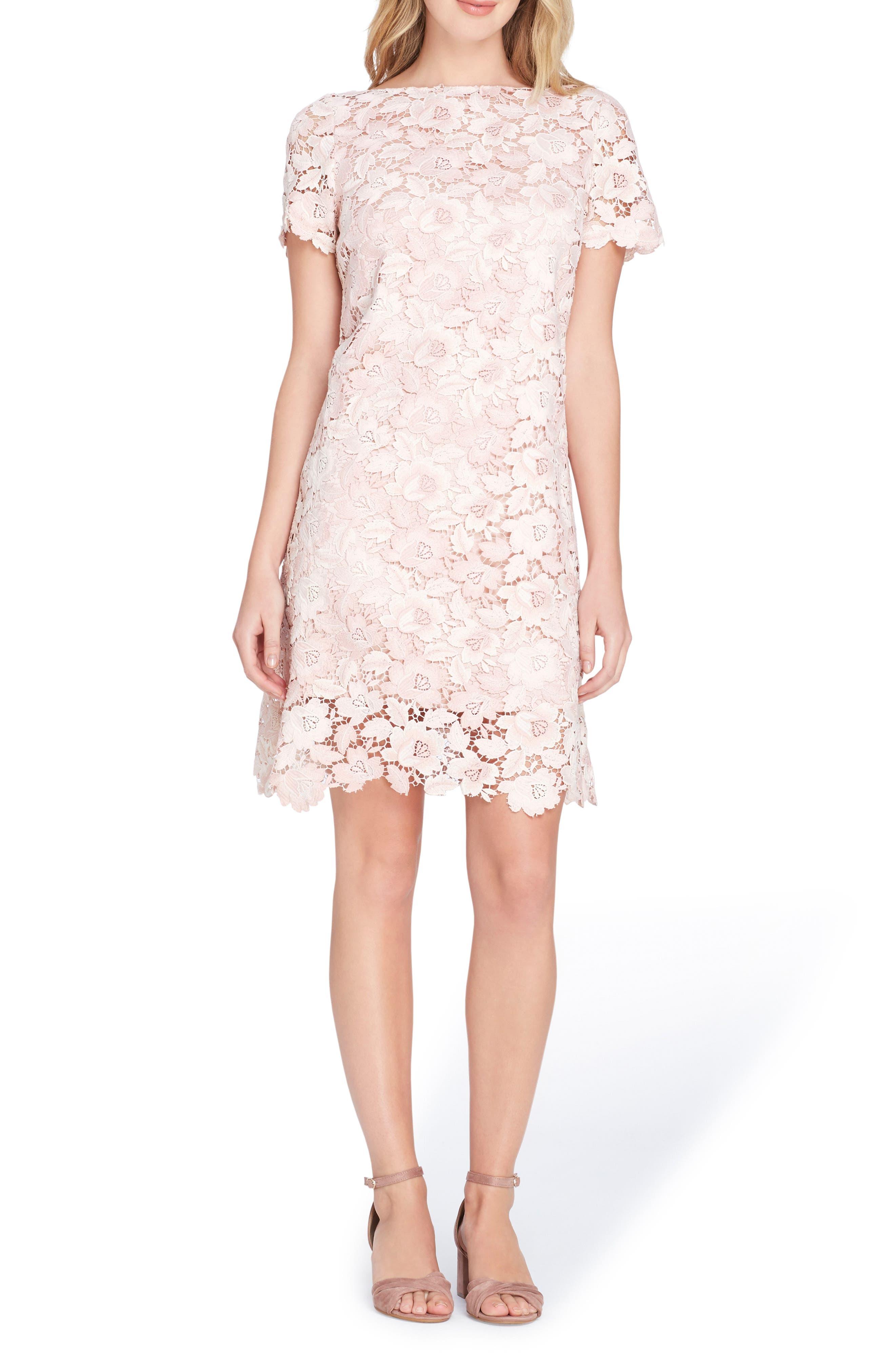 Lace Sheath Dress,                             Main thumbnail 1, color,                             Ivory/ Blush