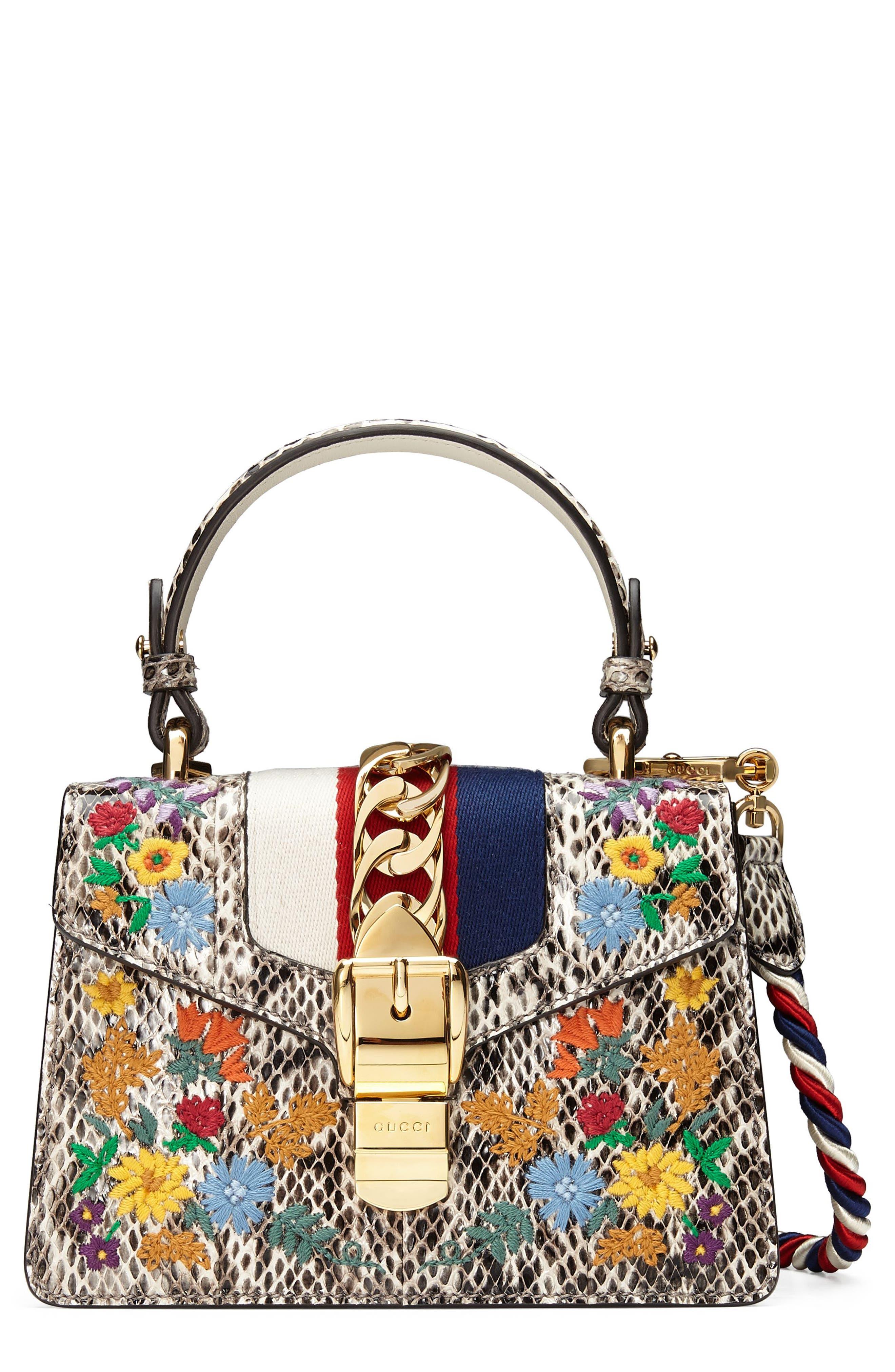 Gucci Mini Sylvie Genuine Snakeskin Top Handle Bag
