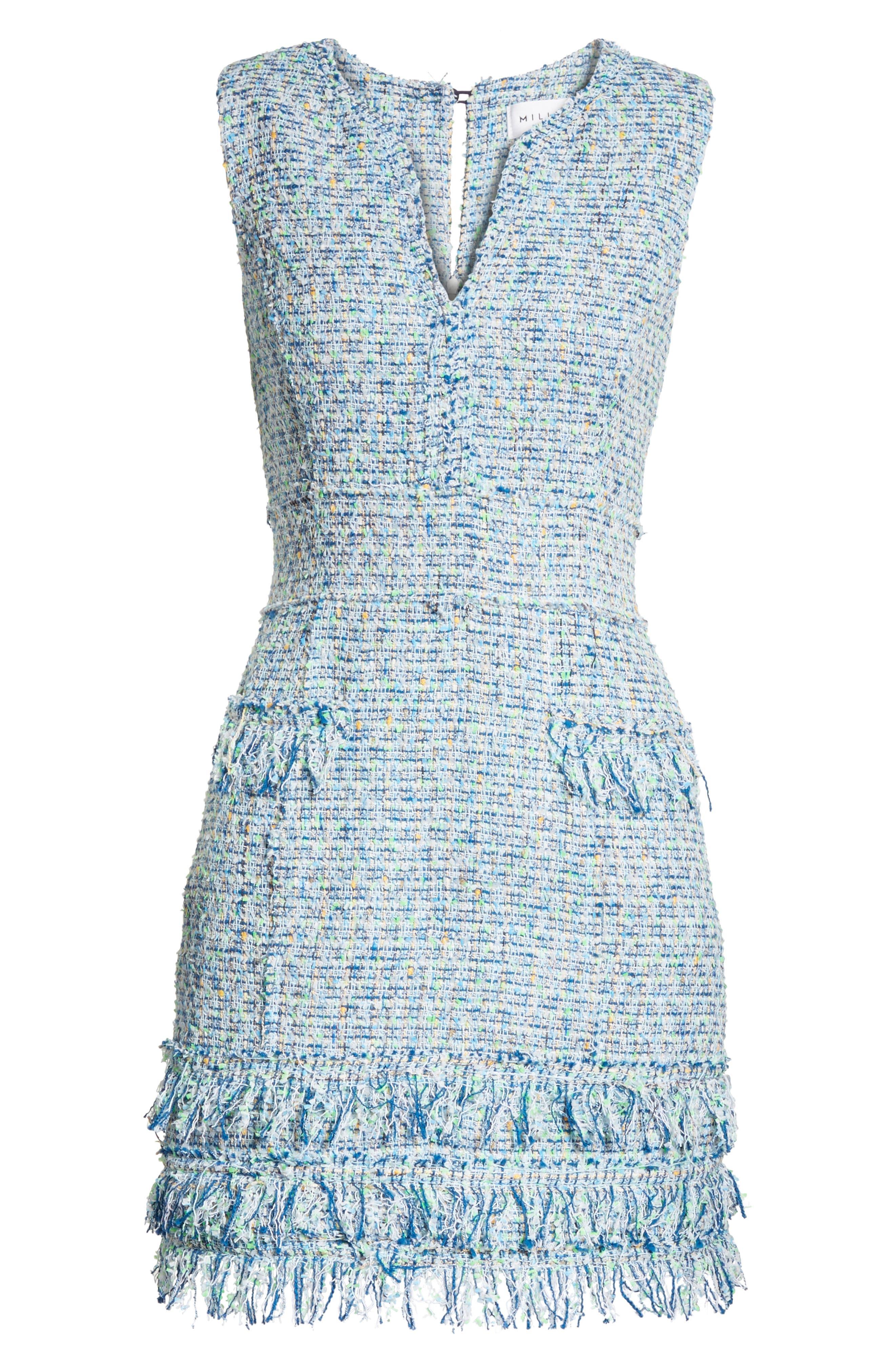Tweed Sleeveless A-Line Dress,                             Alternate thumbnail 6, color,                             Blue