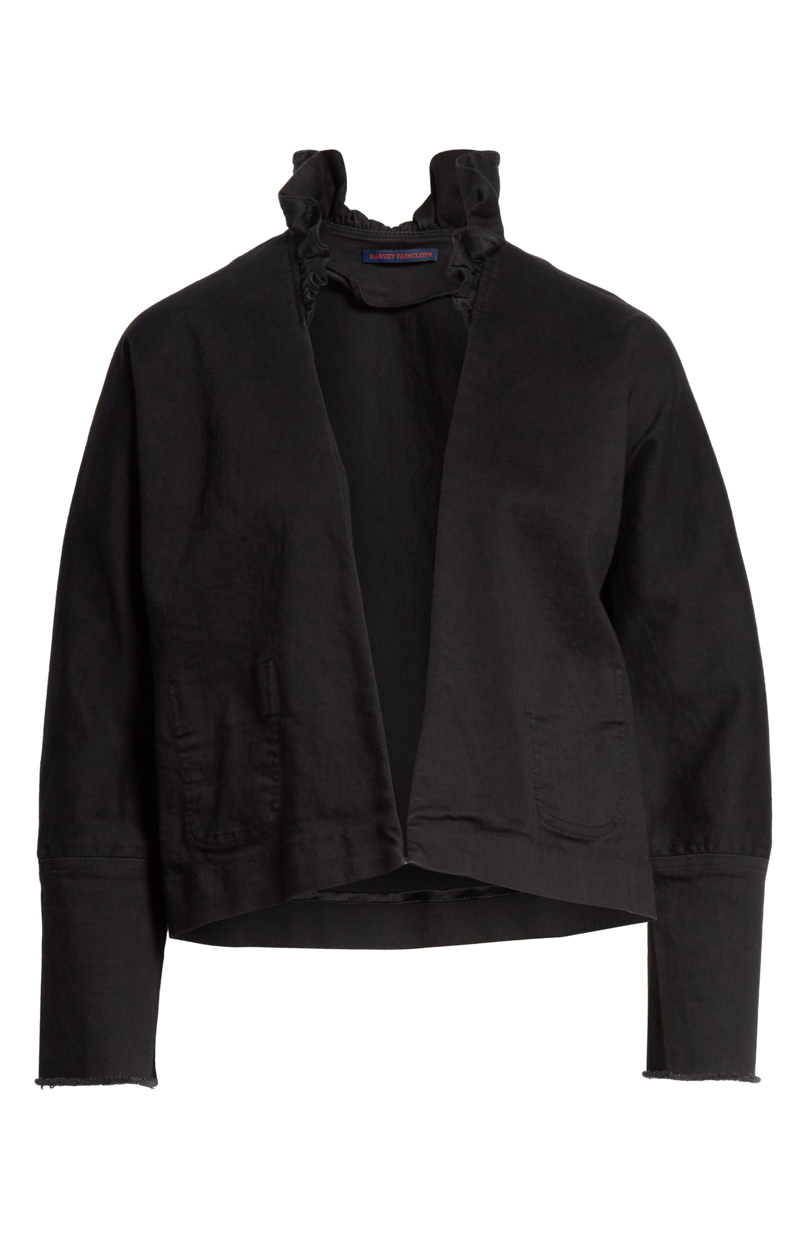 Ruffle Collar Crop Denim Jacket,                             Alternate thumbnail 6, color,                             Black